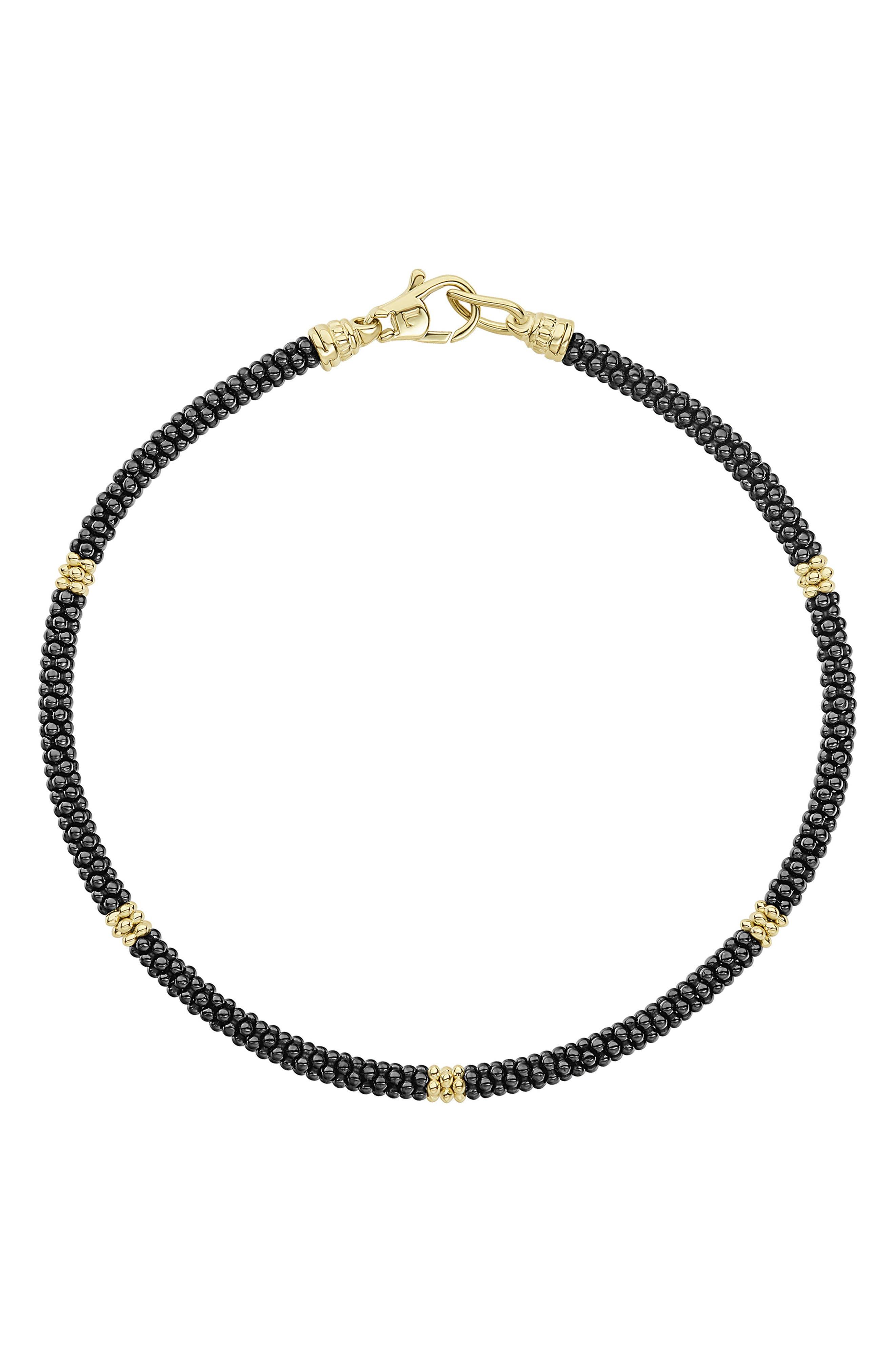 Gold & Black Caviar Rope Bracelet,                             Main thumbnail 1, color,                             Gold