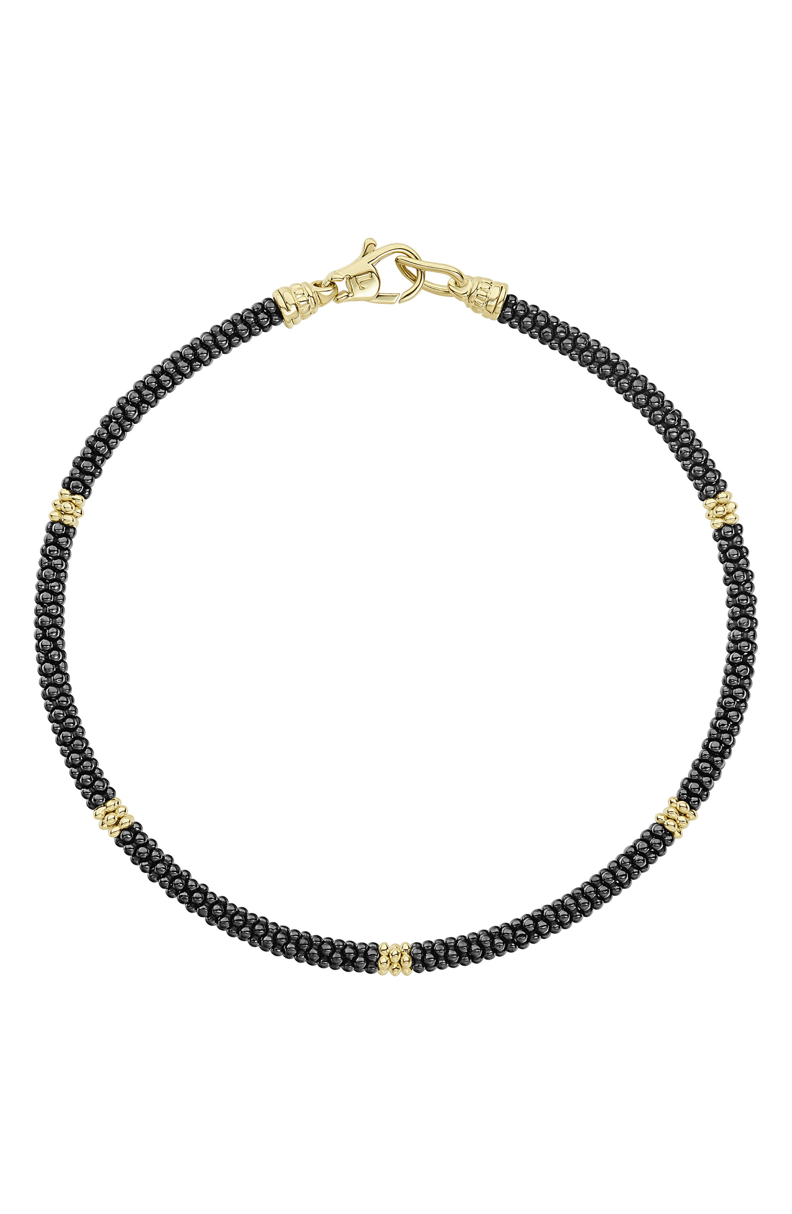 Gold & Black Caviar Rope Bracelet,                         Main,                         color, Gold