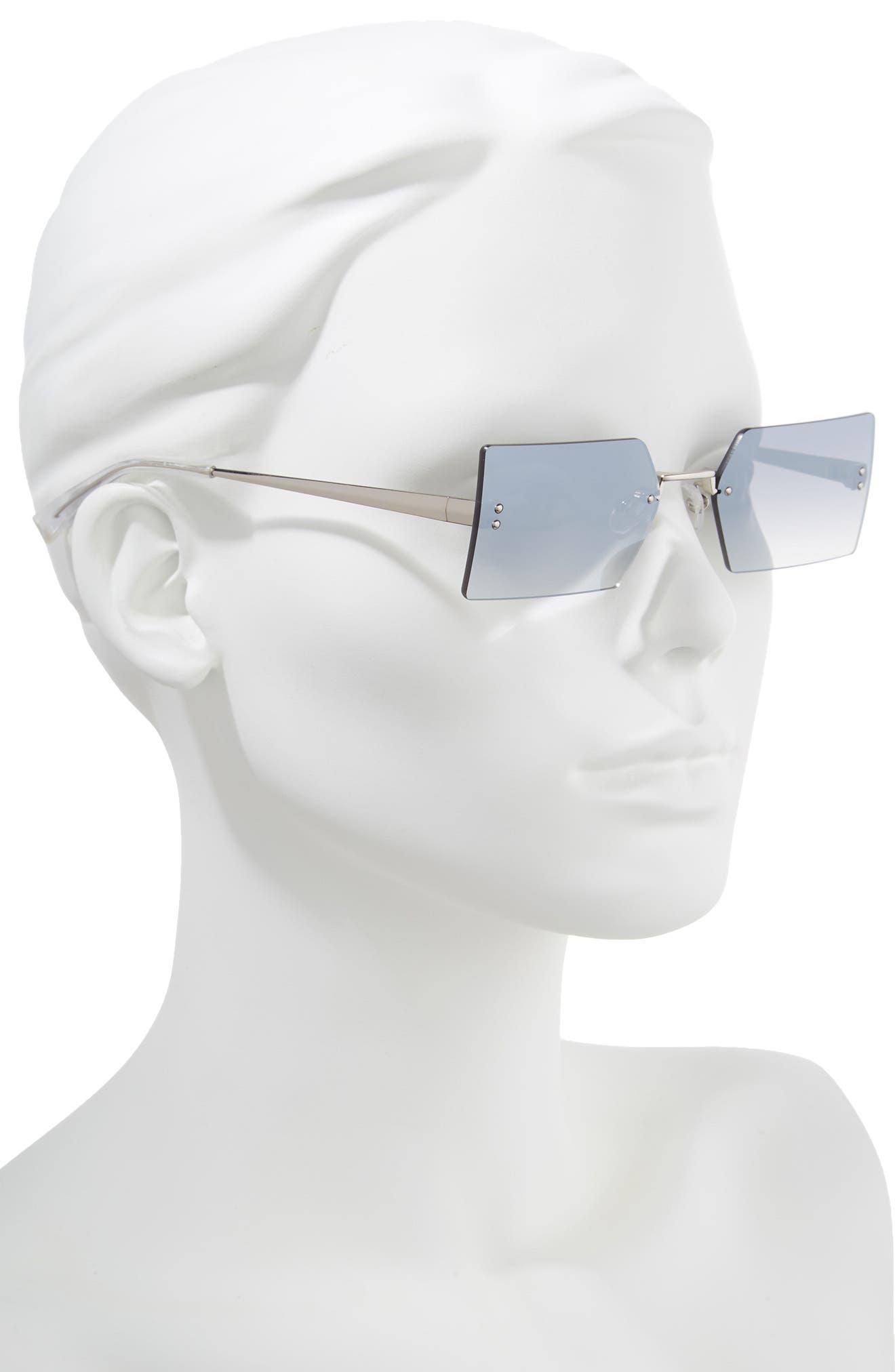Grace 53mm Rimless Rectangular Sunglasses,                             Alternate thumbnail 2, color,                             Silver/ Smoke Gradient Flash