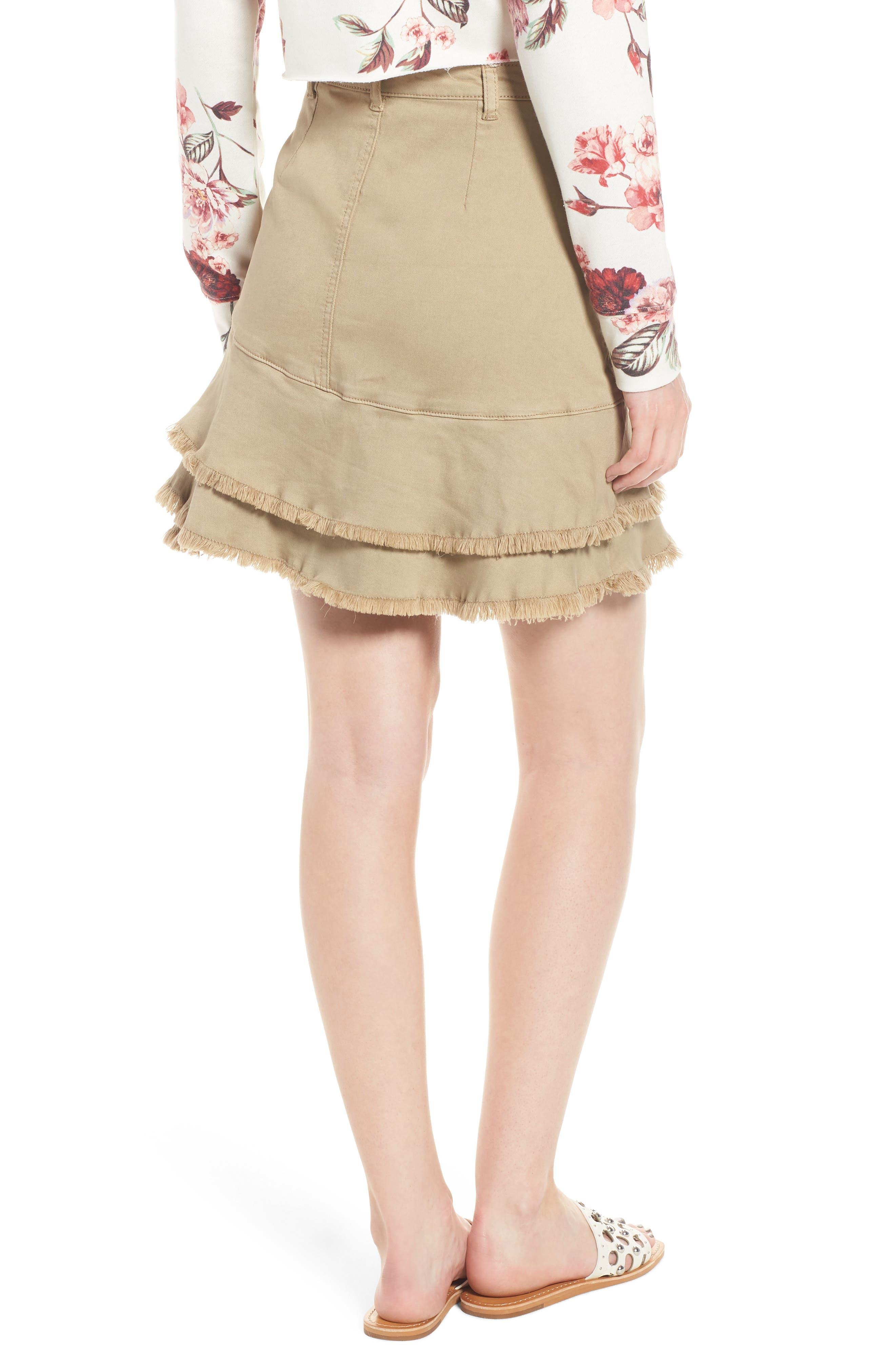 Tiered Fray Hem Skirt,                             Alternate thumbnail 2, color,                             Beige Nougat