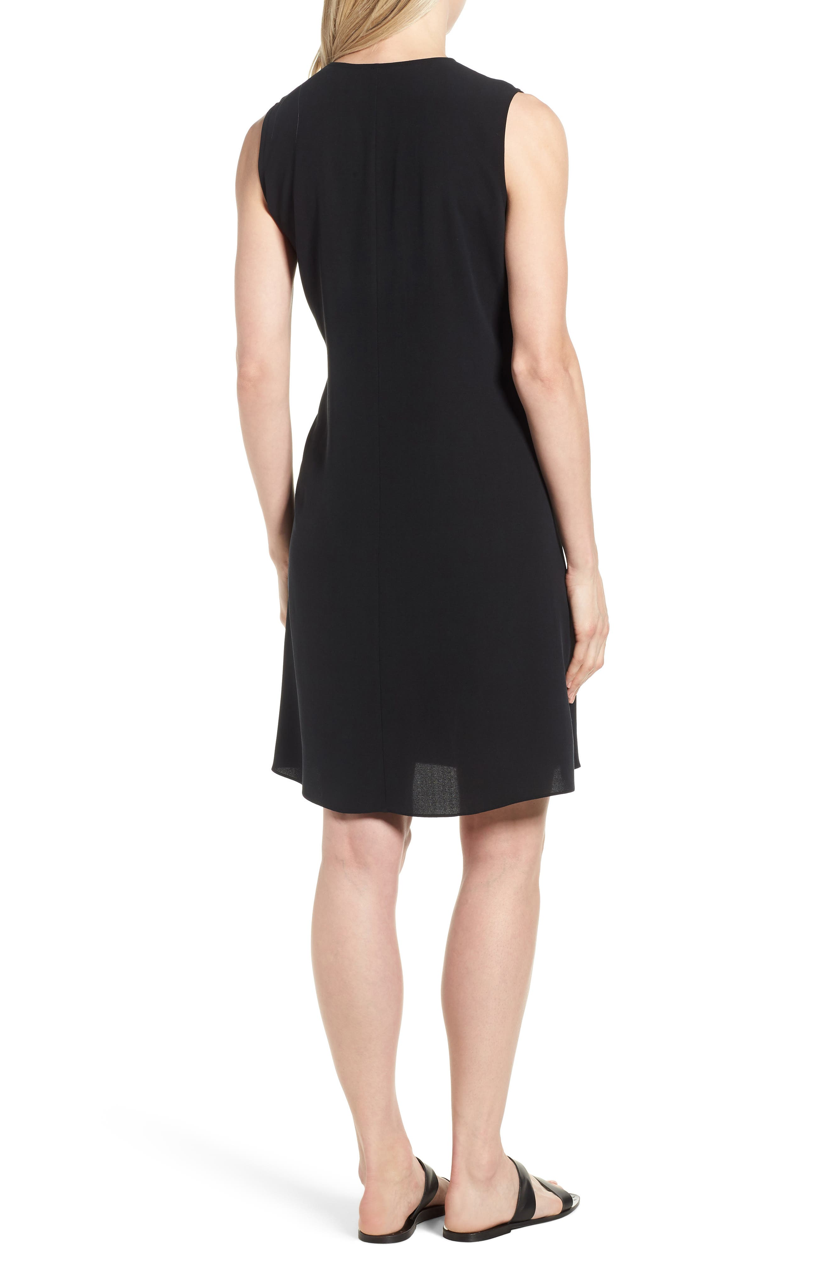 Silk Wrap Dress,                             Alternate thumbnail 2, color,                             Black
