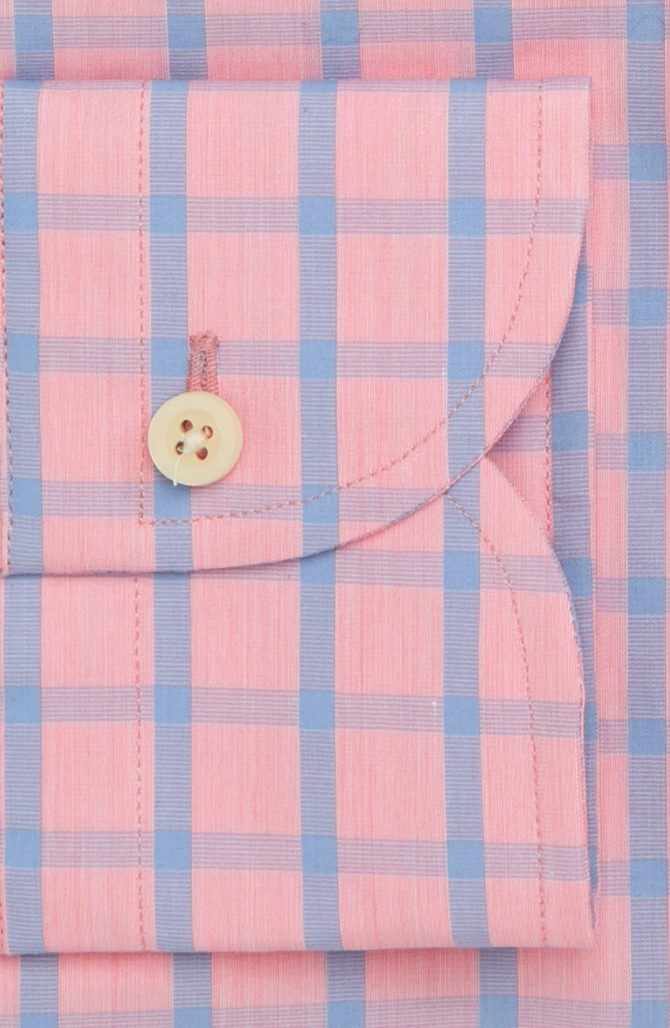 Hayden Trim Fit Windowpane Dress Shirt,                             Alternate thumbnail 5, color,                             Salmon