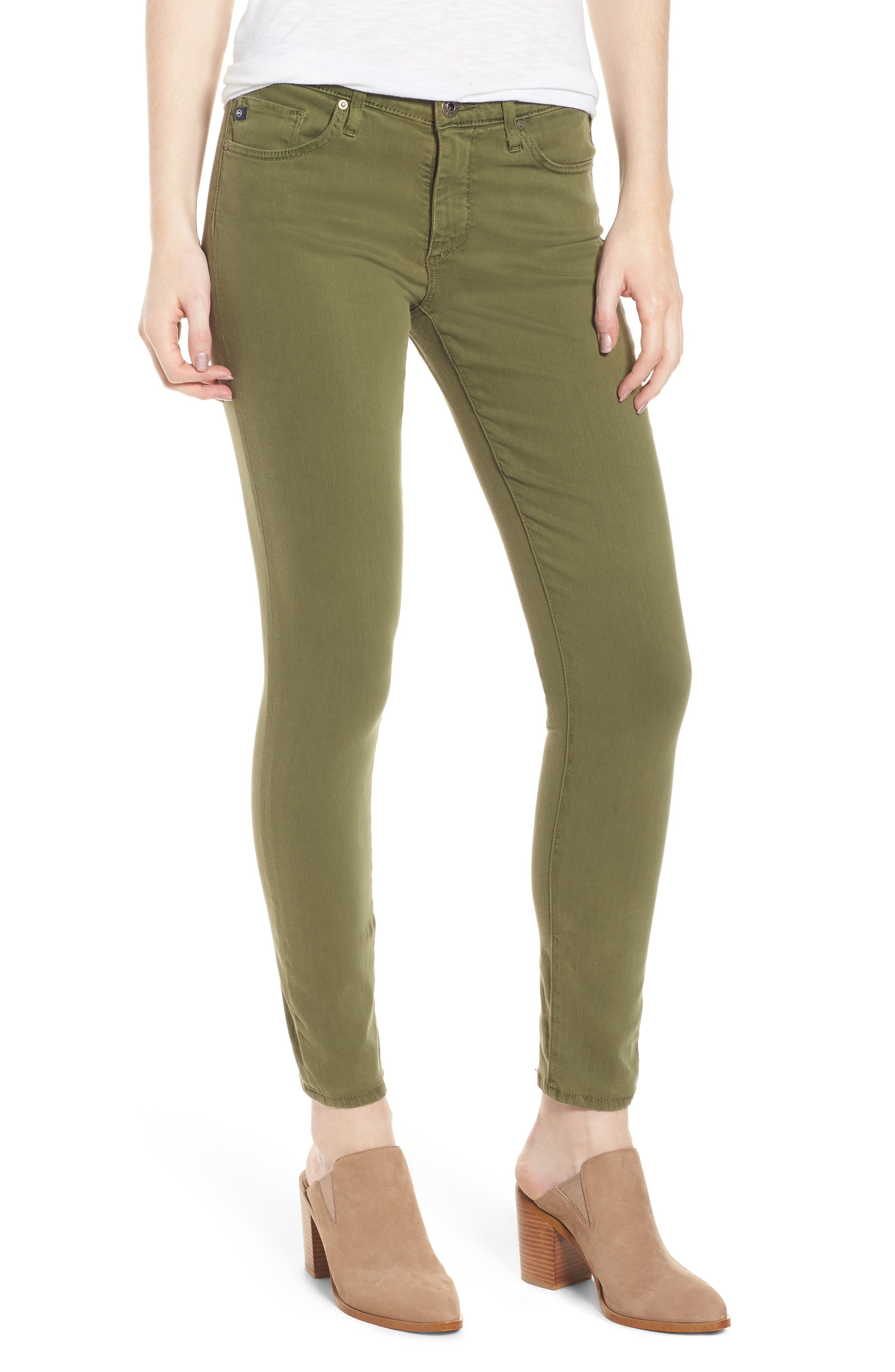 'The Legging' Ankle Jeans,                             Main thumbnail 1, color,                             Sulfur Olive Grove