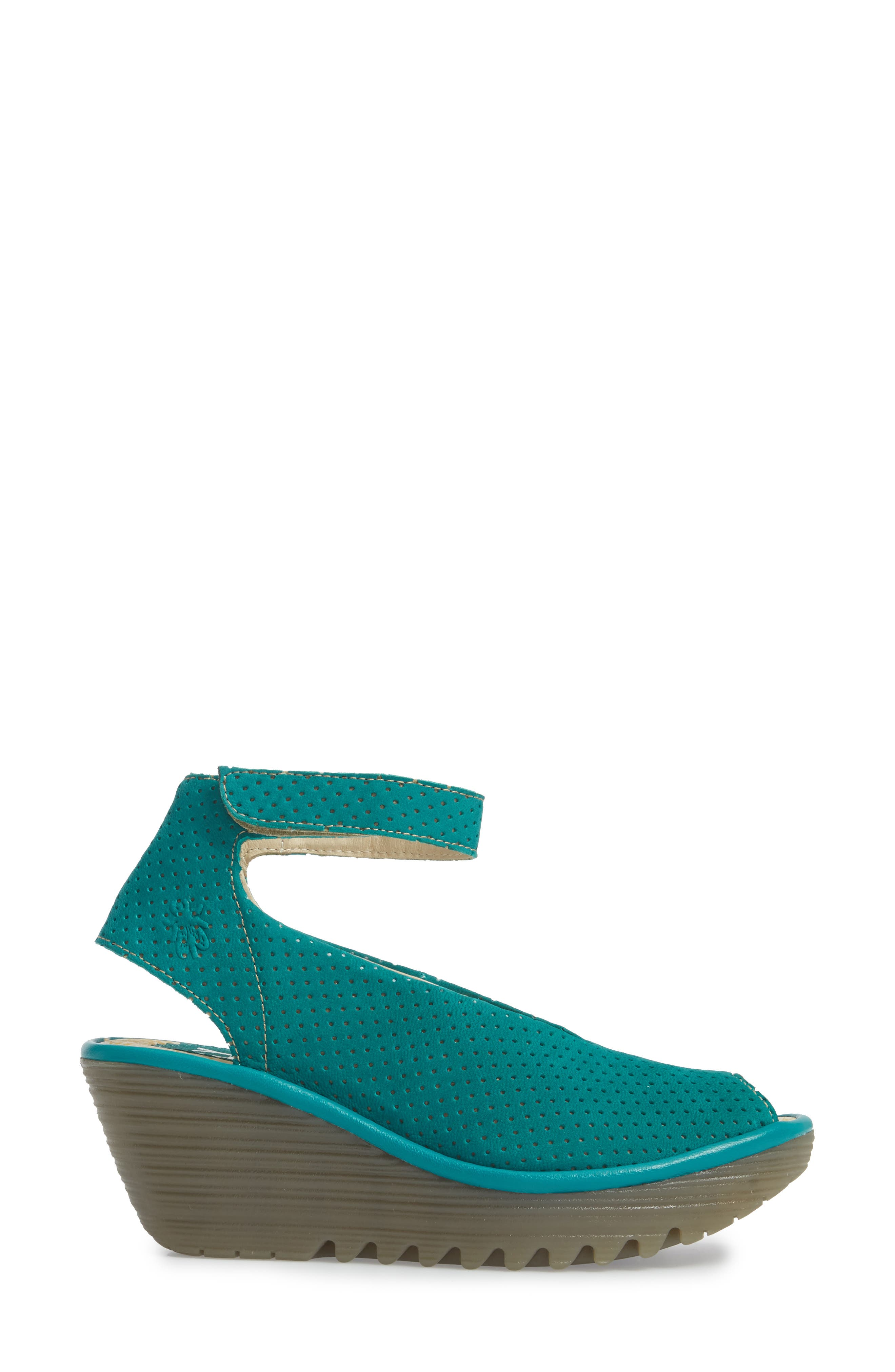 'Yala' Perforated Leather Sandal,                             Alternate thumbnail 3, color,                             Green Leather
