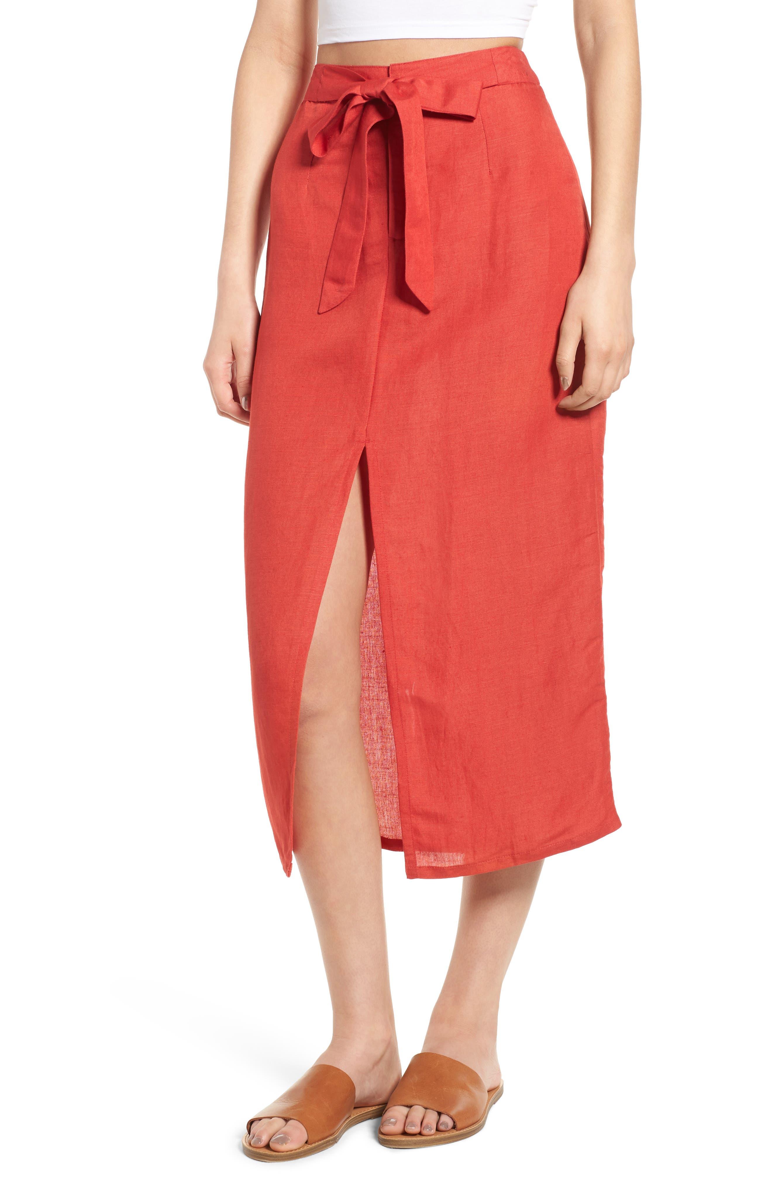 Linen Blend Midi Skirt,                         Main,                         color, Red