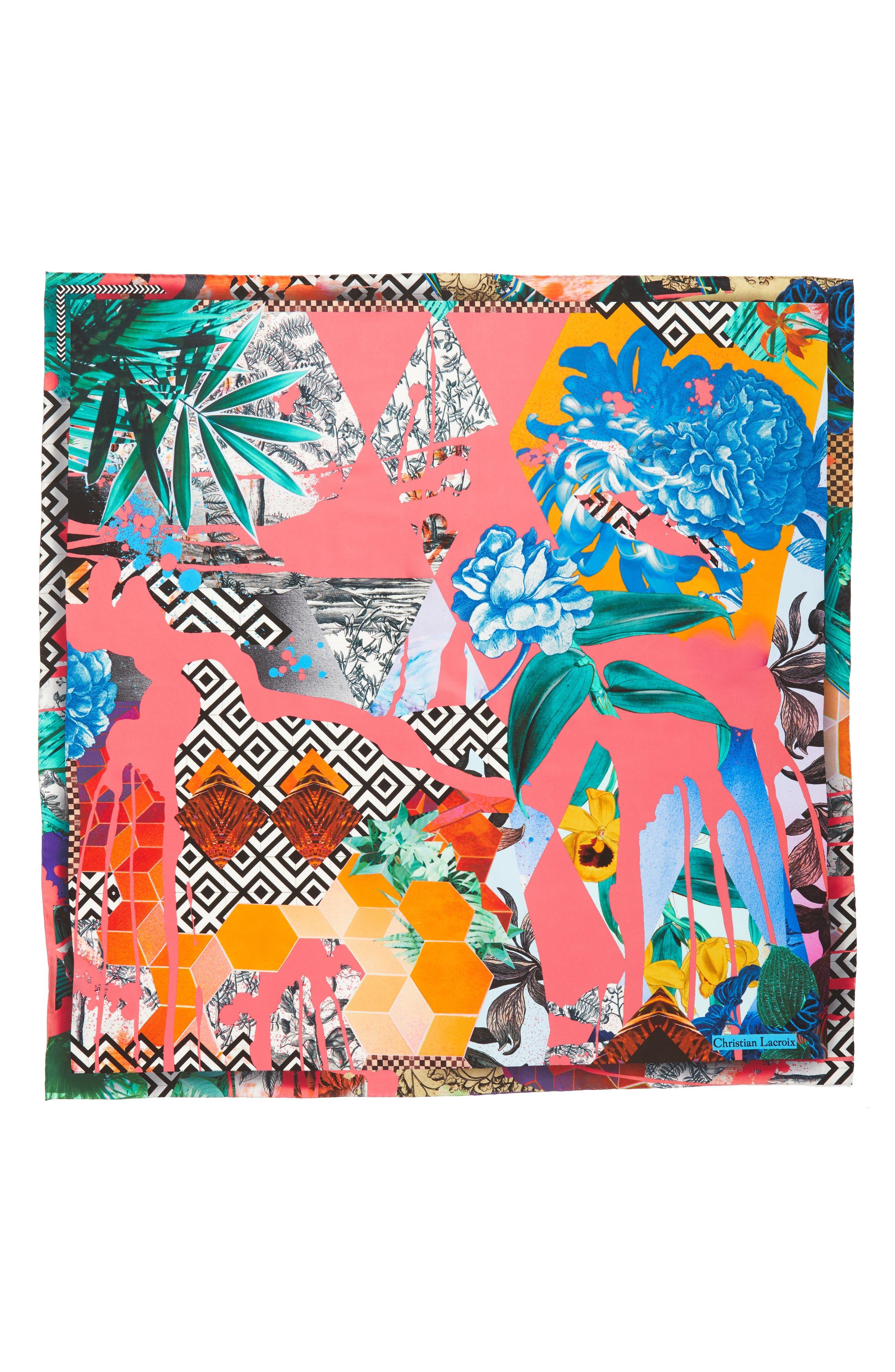 Bayou Fantasy Silk Square Scarf,                             Main thumbnail 1, color,                             Coral Red