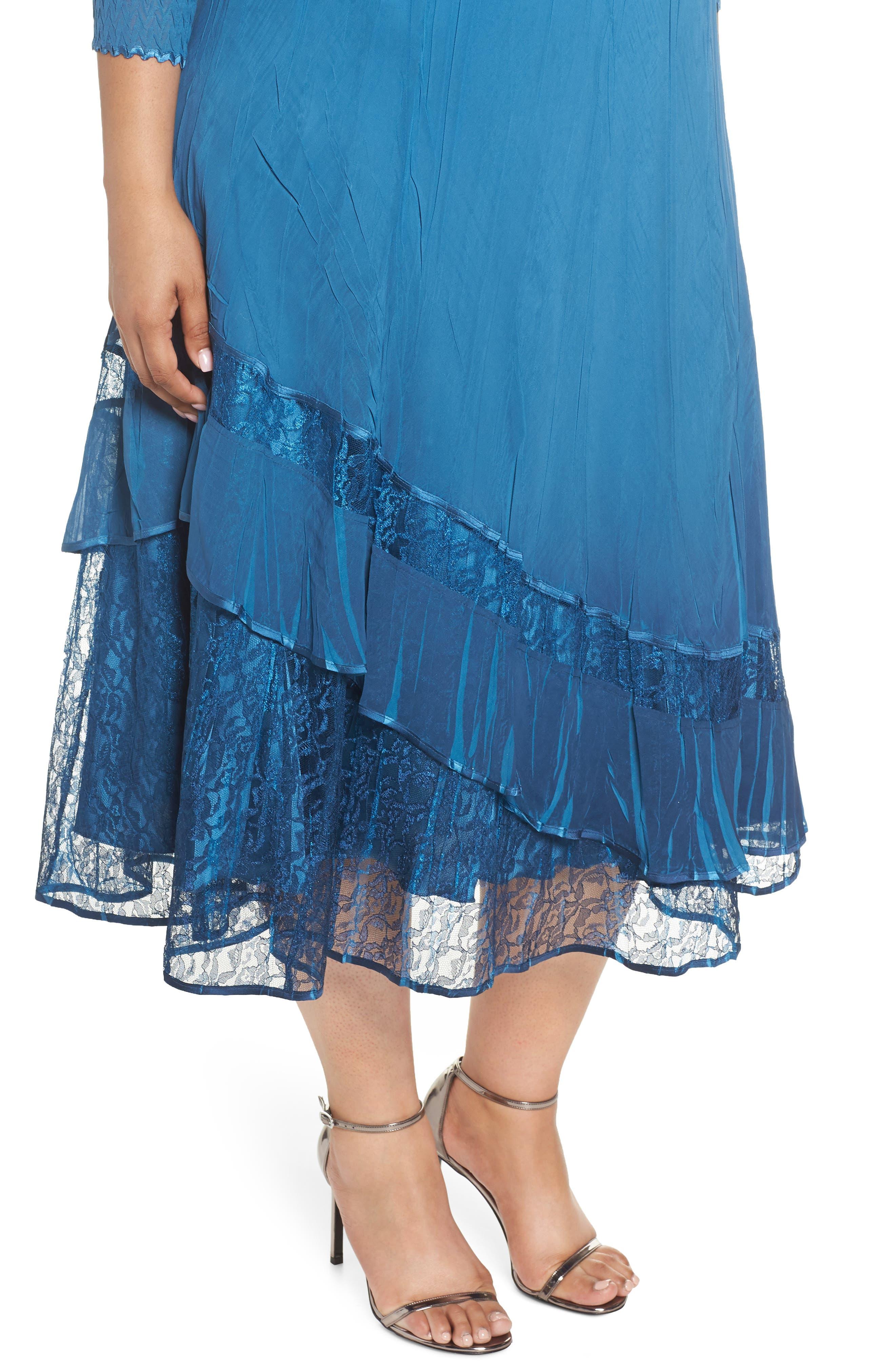 Beaded Neck Asymmetrical Charmeuse A-Line Dress,                             Alternate thumbnail 4, color,                             Blue Dusk Night Ombre