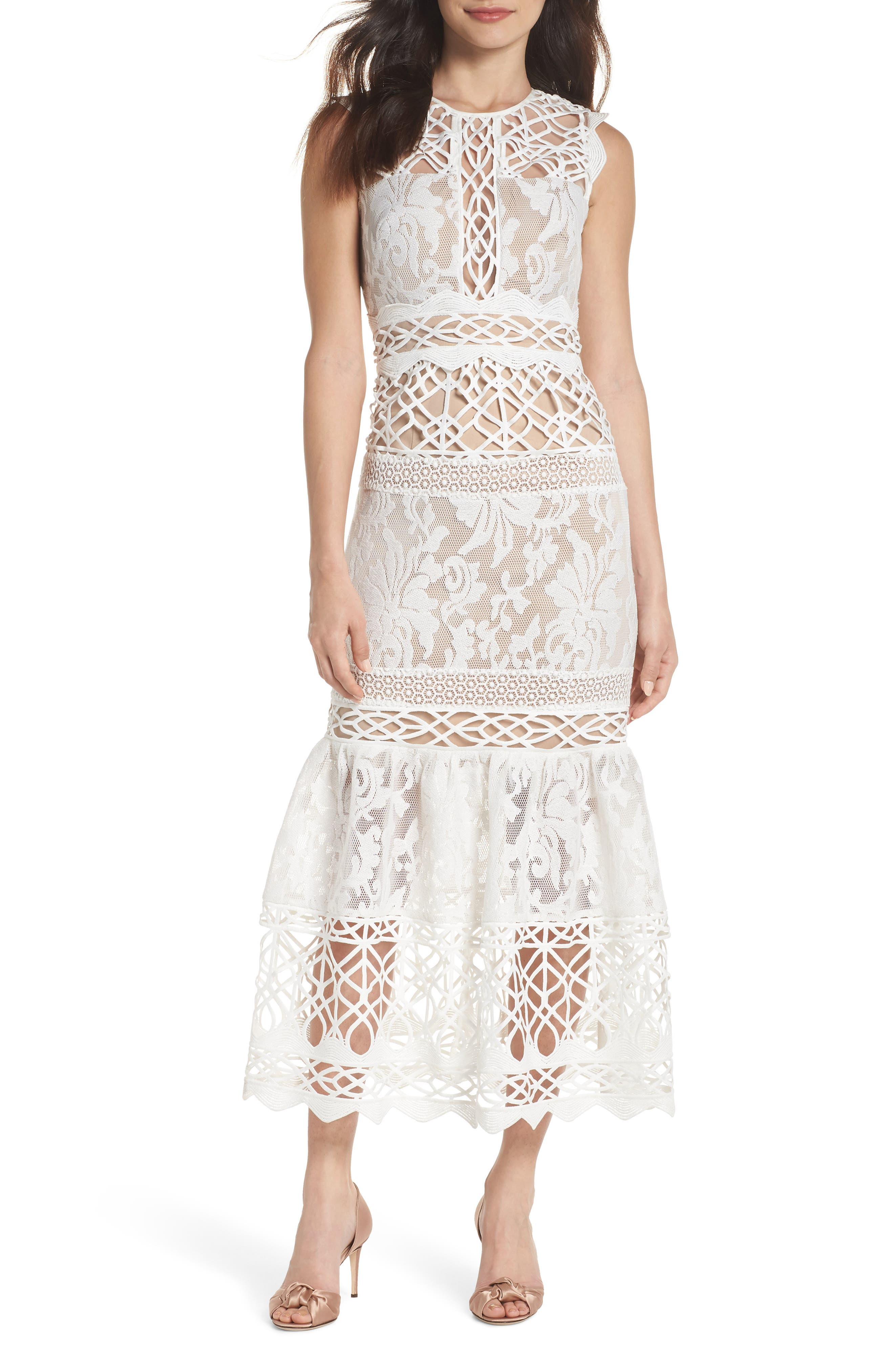 Mixed Lace Dress,                             Main thumbnail 1, color,                             Ivory Nude