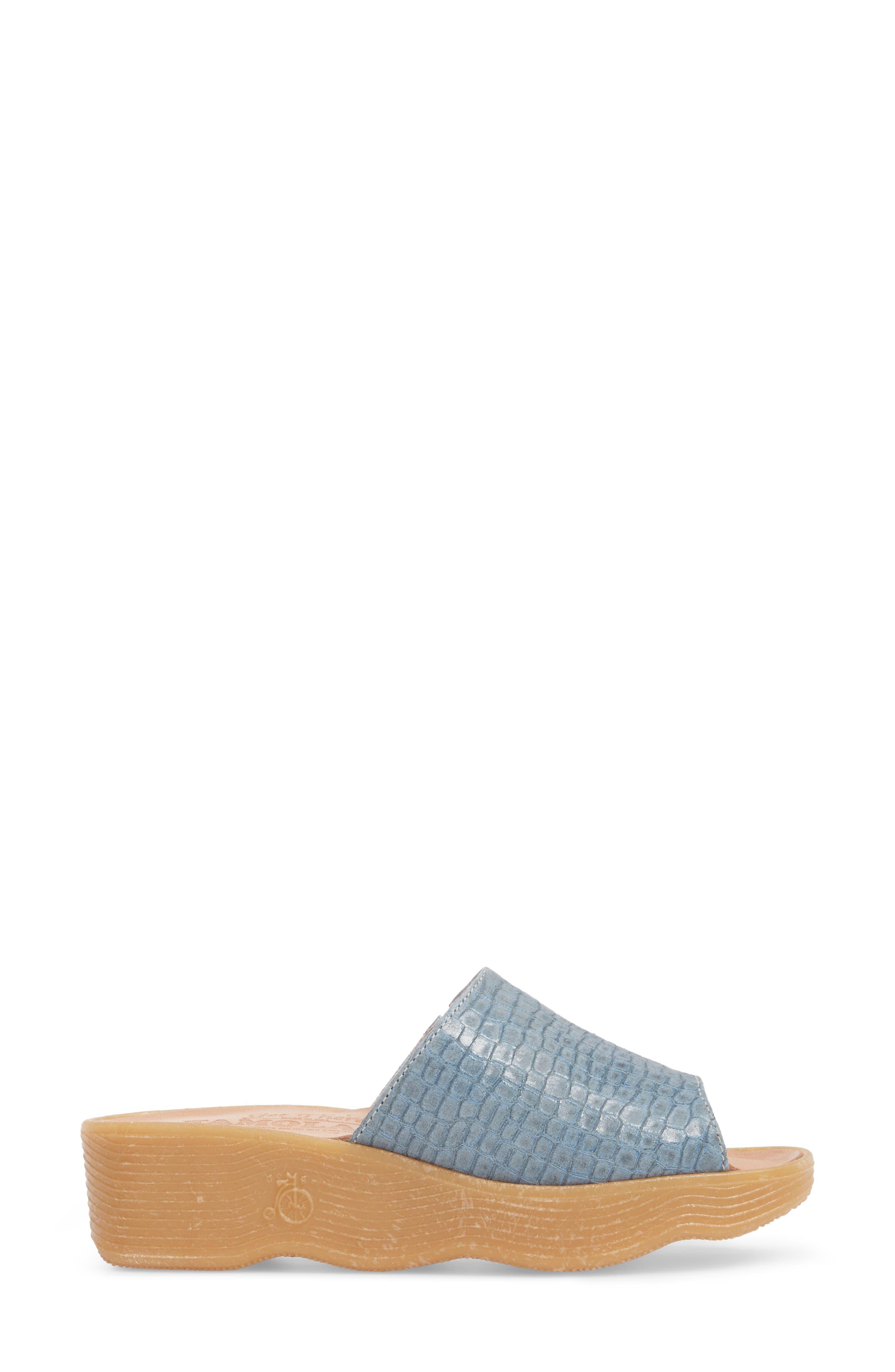 Slide N Sleek Wedge Slide Sandal,                             Alternate thumbnail 3, color,                             Aqua Croc Printed Leather