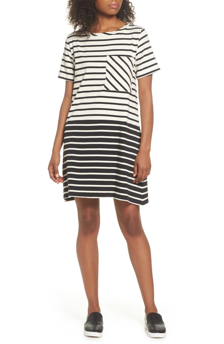 Tim Tim Stripe Shift Dress,                         Main,                         color, Classic Cream/ Black