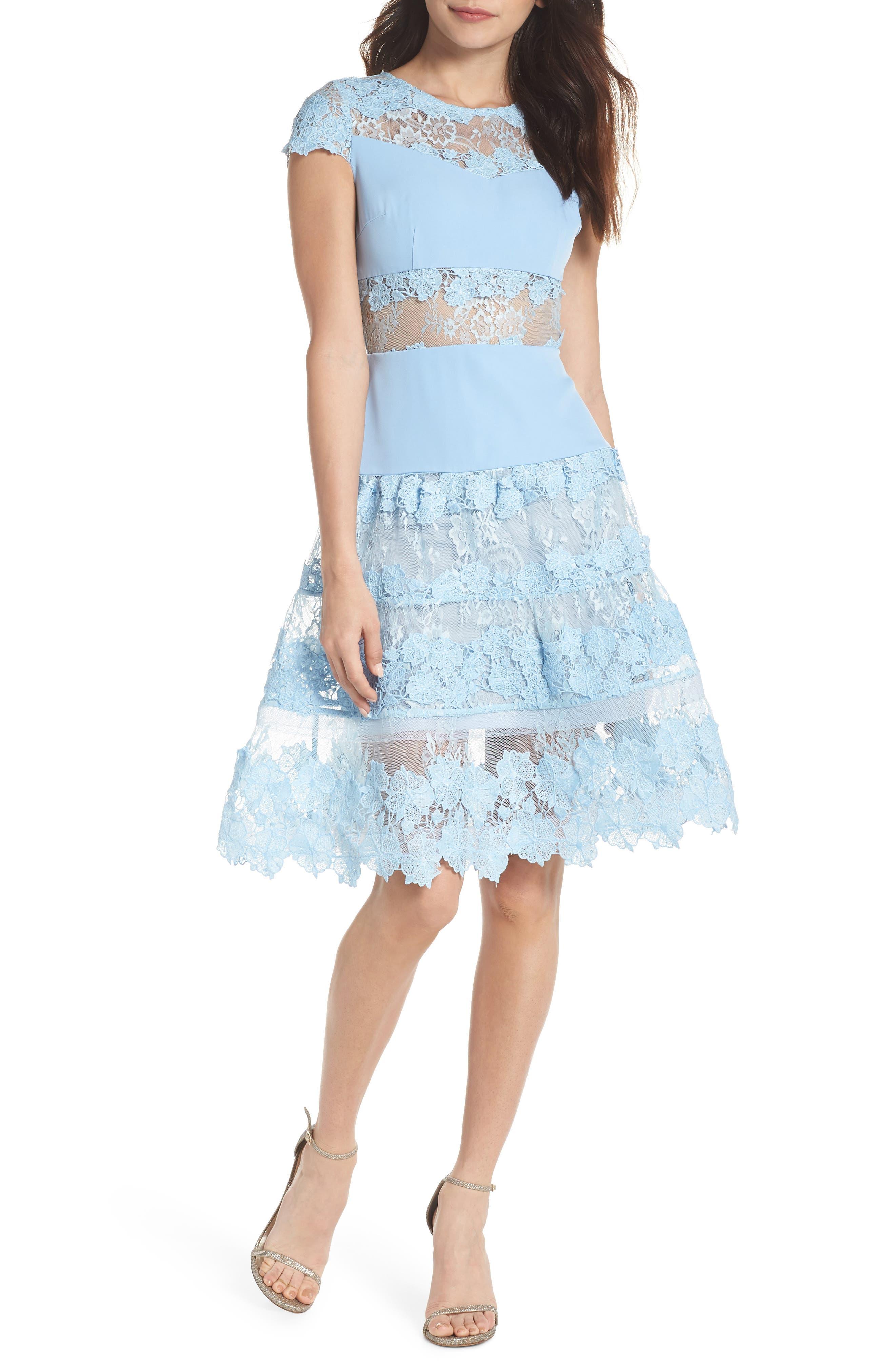 Flamenco Lace Fit & Flare Dress,                             Main thumbnail 1, color,                             Blue