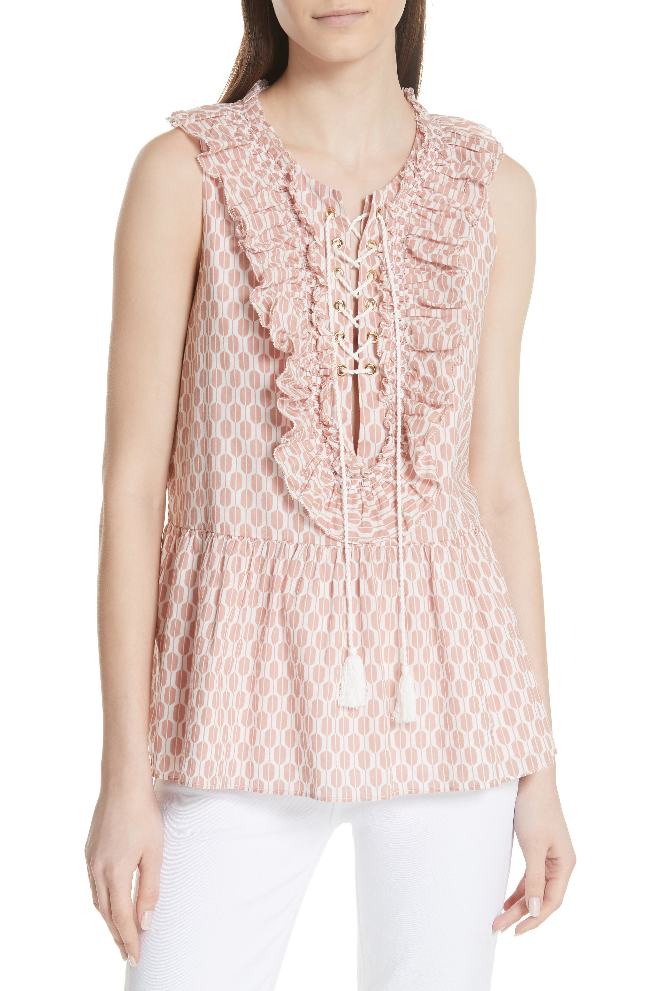 arrow stripe lace-up top,                         Main,                         color, Fresh White/ Conch Shell