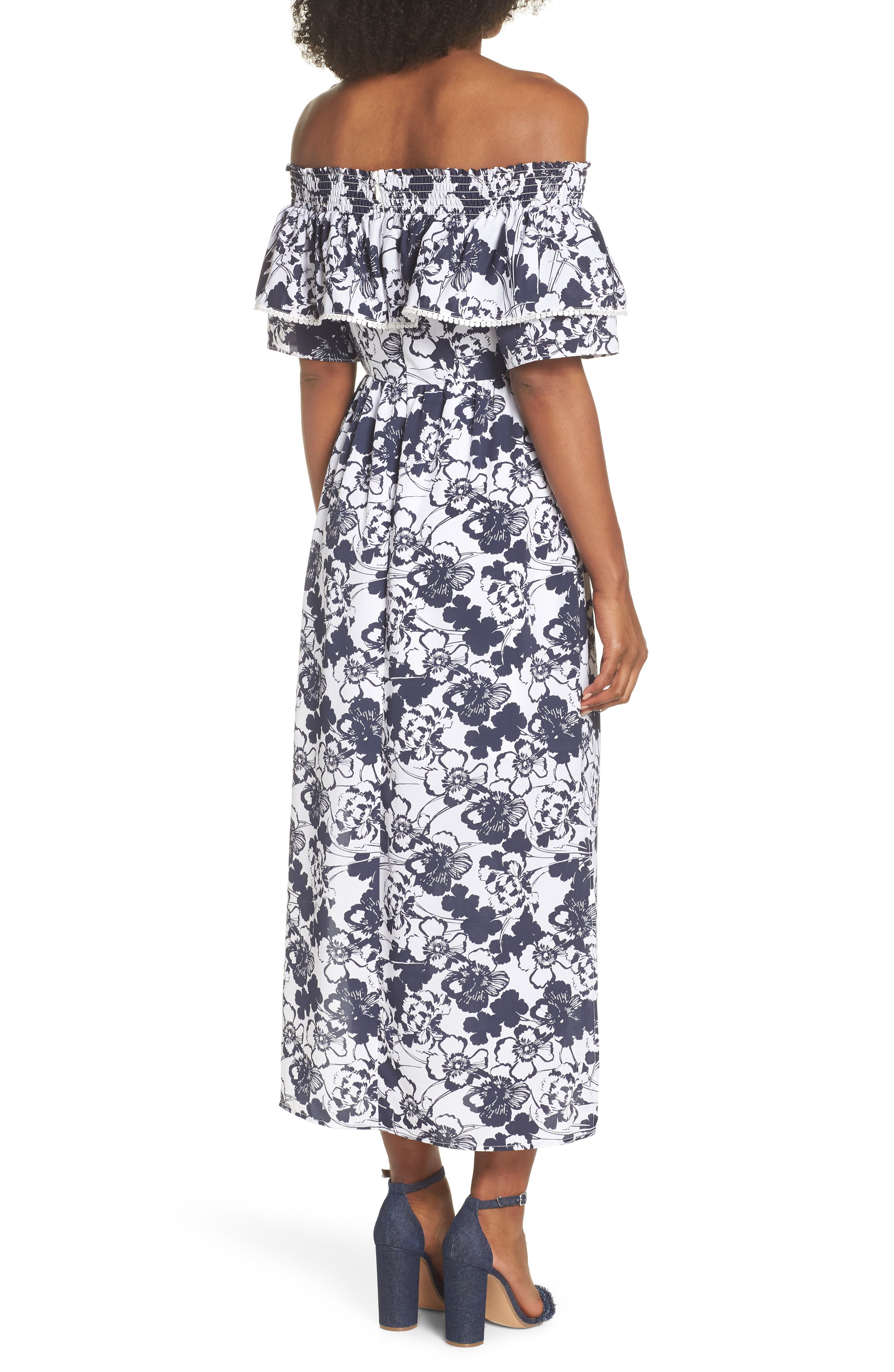 Off the Shoulder Ruffle Maxi Dress,                             Alternate thumbnail 3, color,                             Navy Ivory Floral Print