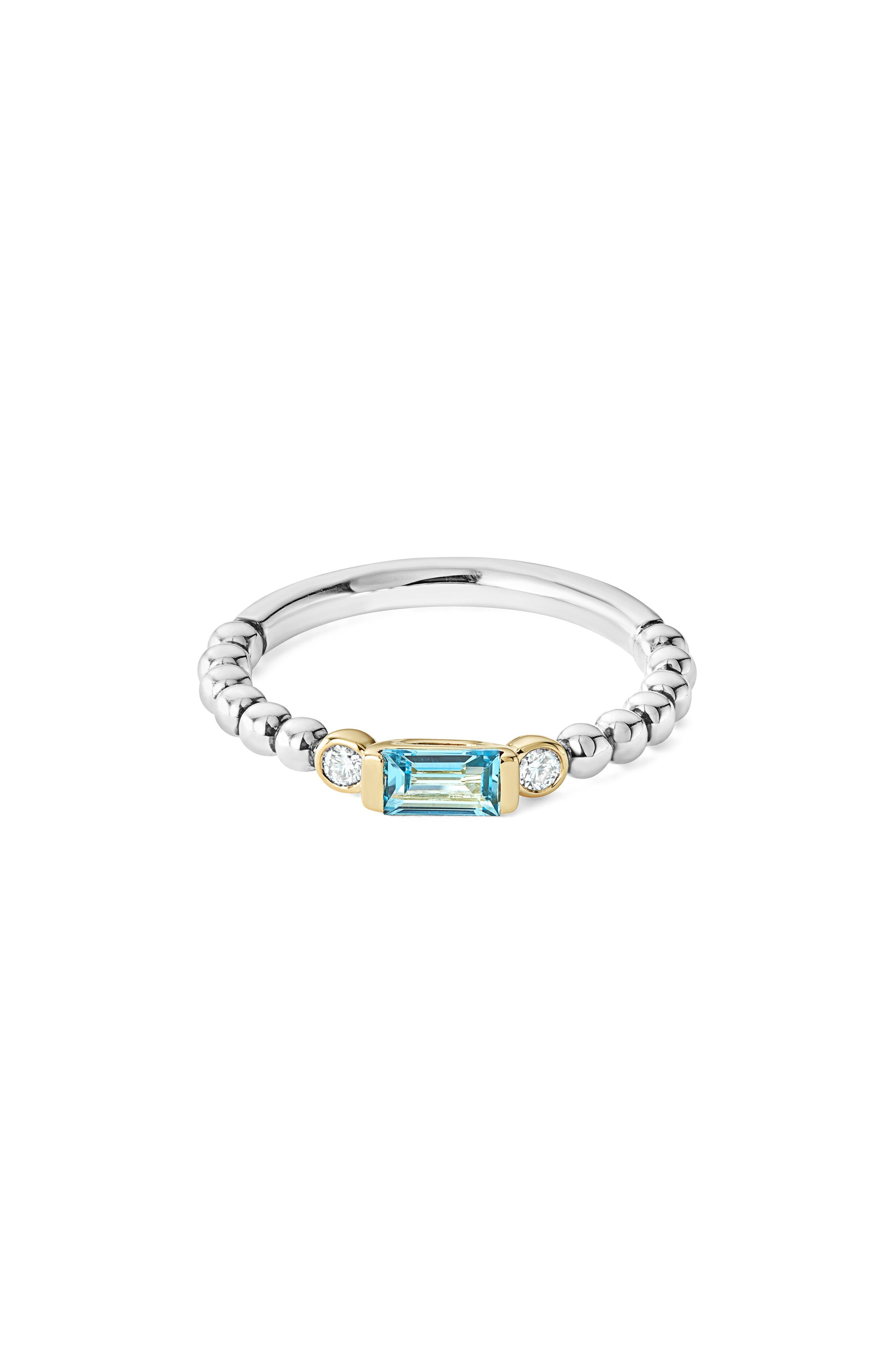 Gemstone Baguette and Diamond Beaded Band Ring,                         Main,                         color, Silver/ 18K Gold/ Blue Topaz