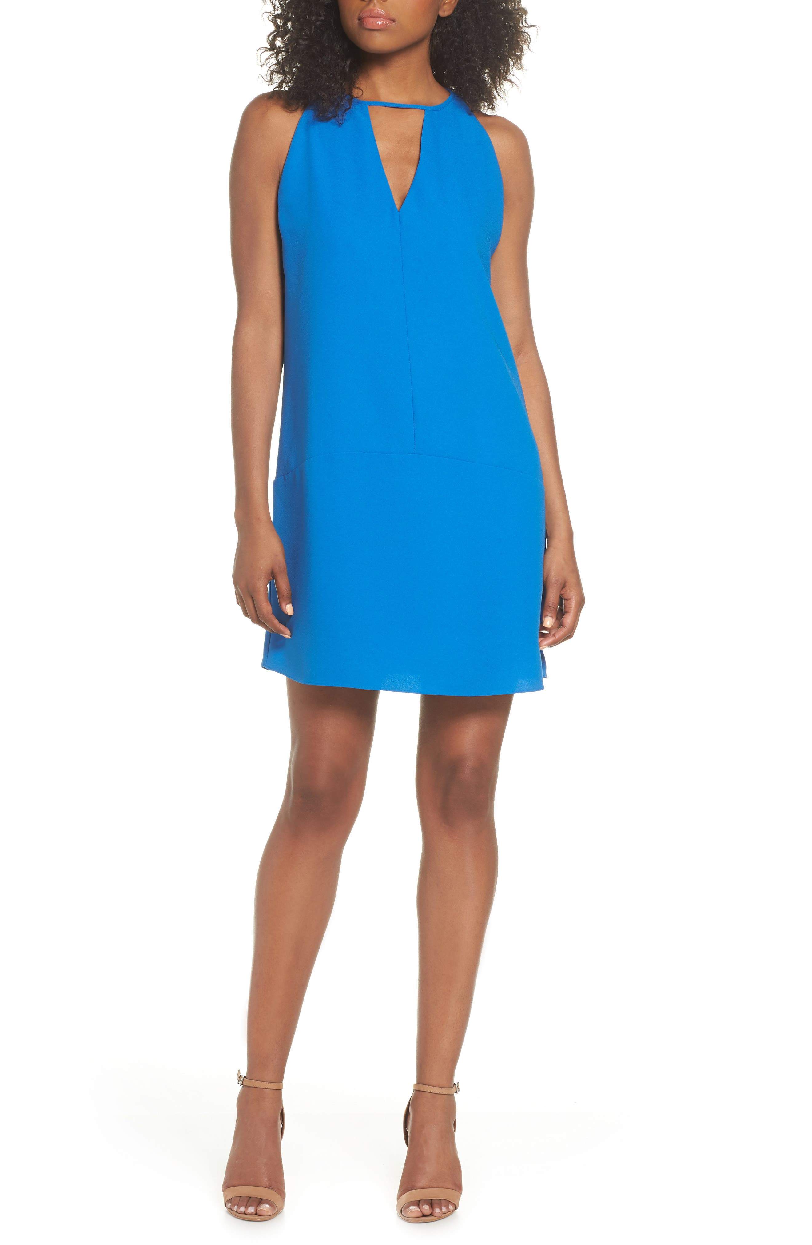 Keyhole Shift Dress,                         Main,                         color, Cobalt