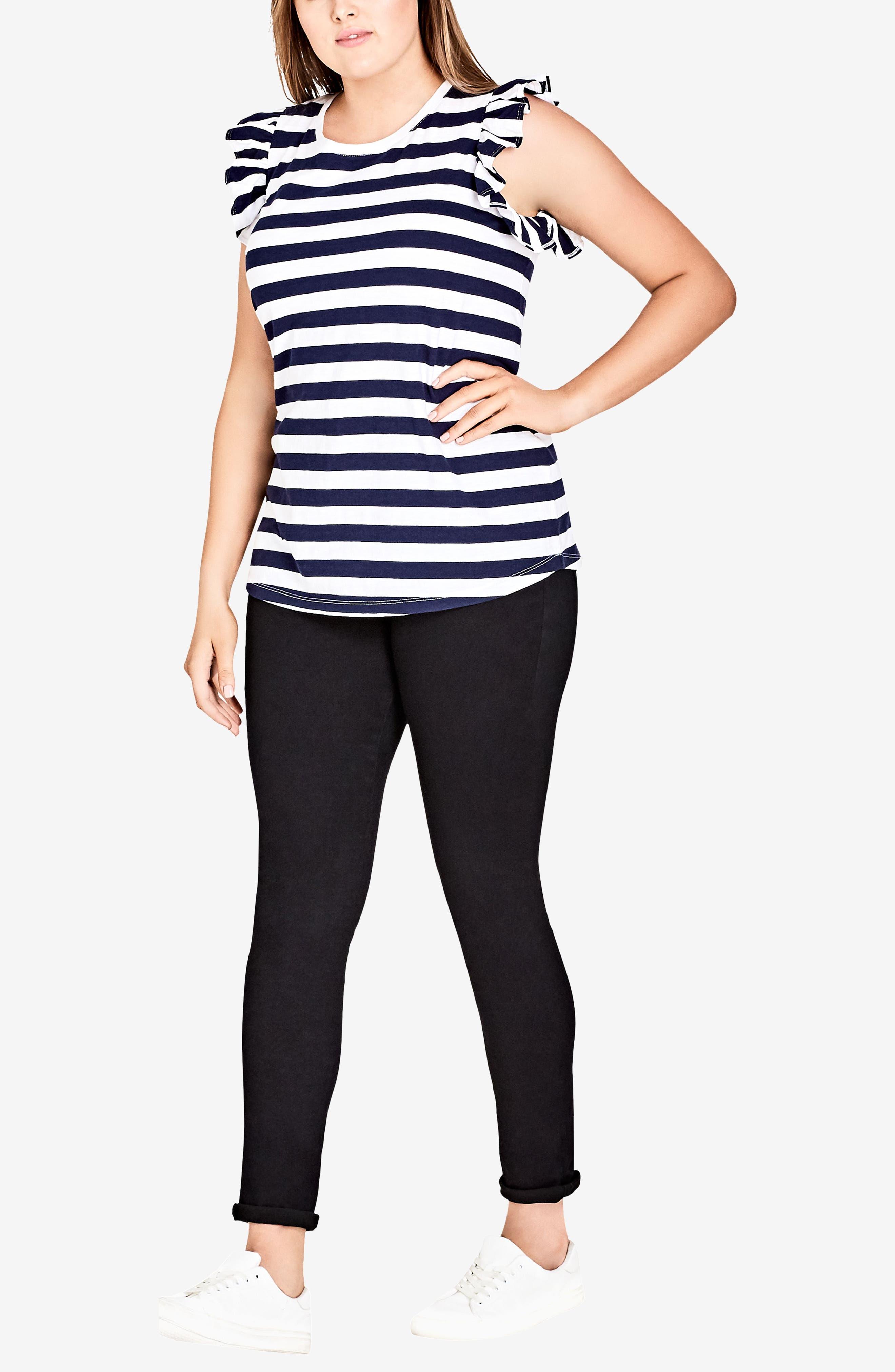 Stripe Frill Sleeve Knit Top,                             Alternate thumbnail 3, color,                             White Stripe