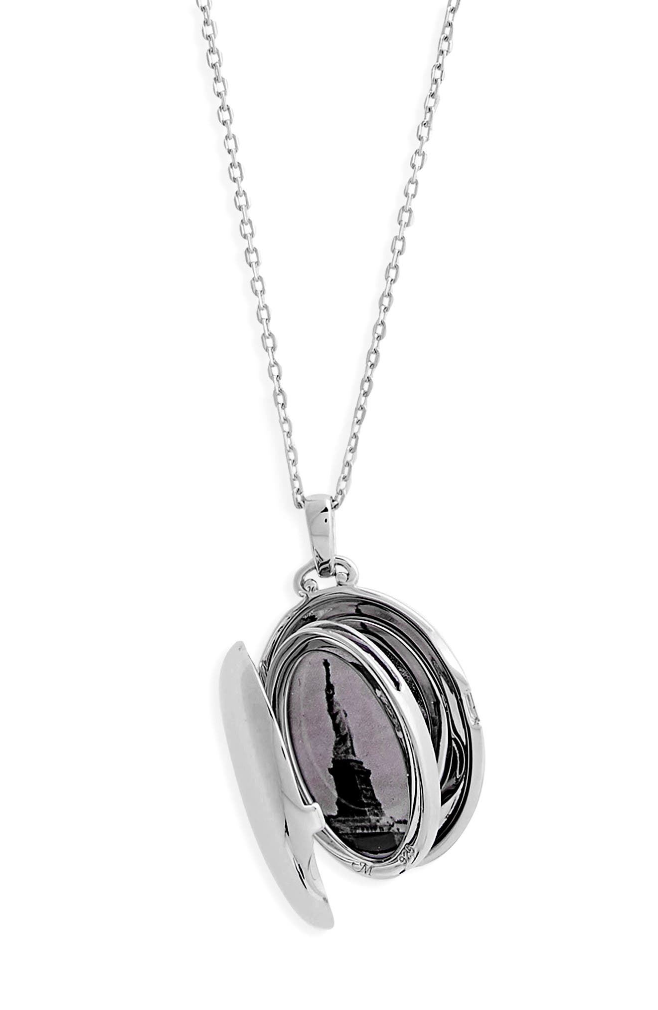 Four Image Mini Locket Necklace,                             Alternate thumbnail 4, color,                             Sterling Silver