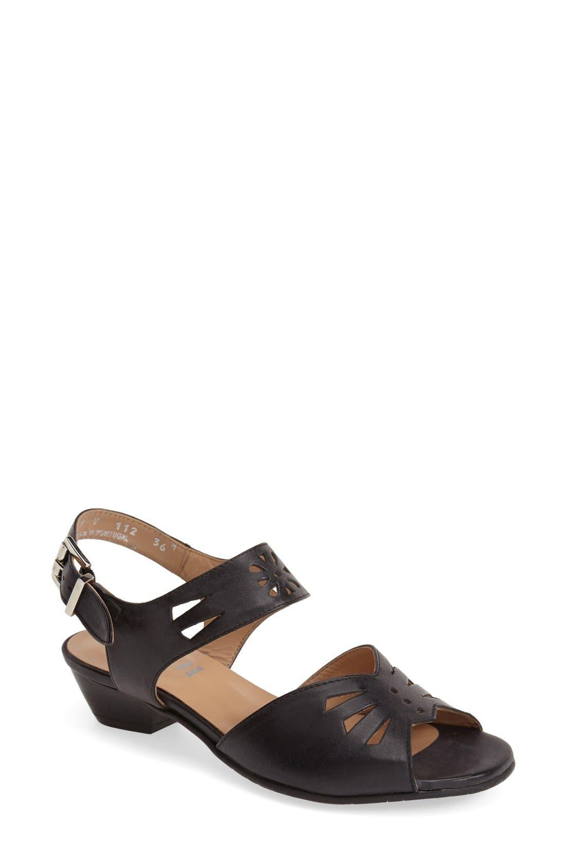 'V112' Perforated Leather Sandal,                         Main,                         color, Black