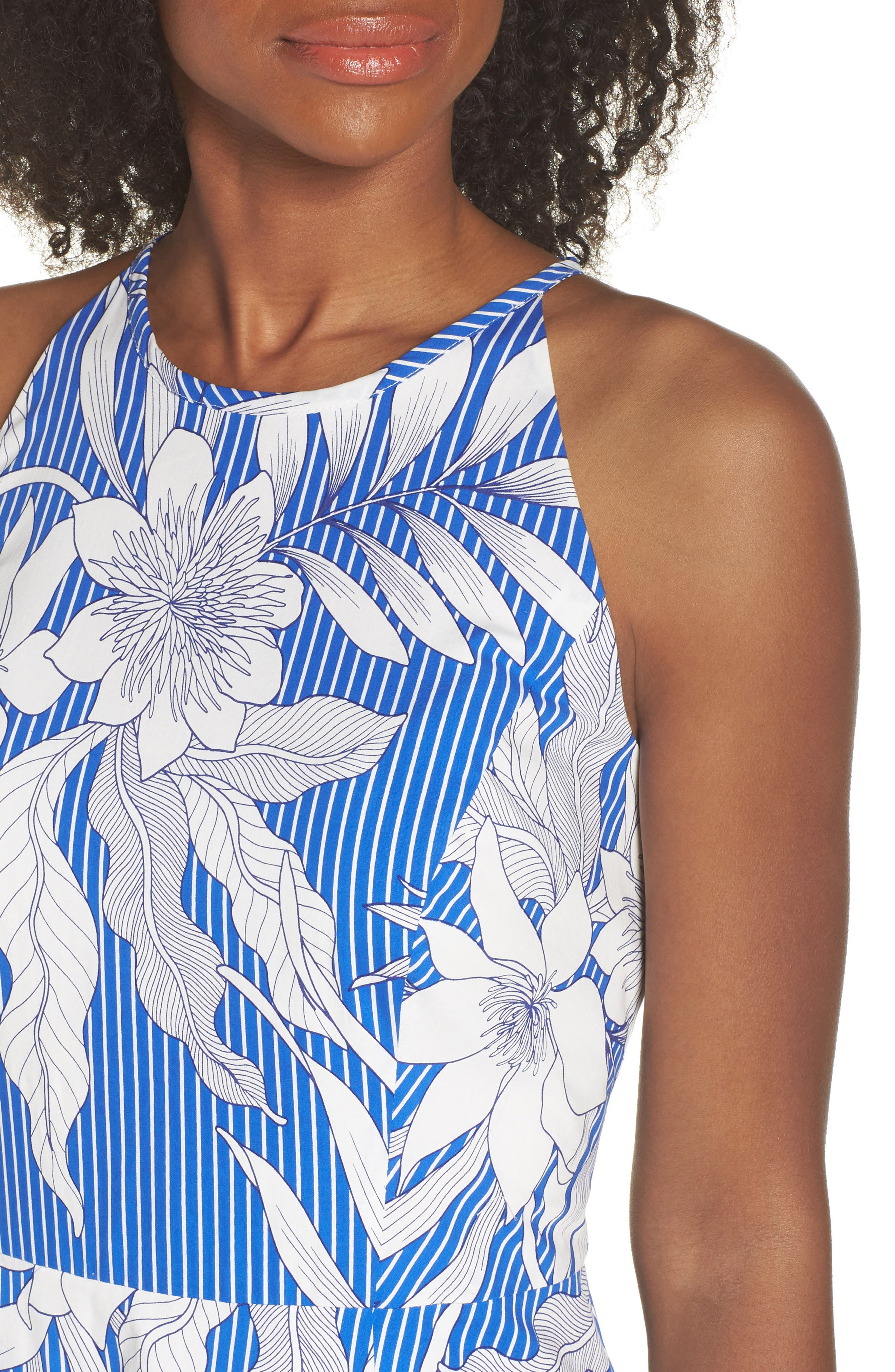Print Poplin Fit & Flare Dress,                             Alternate thumbnail 4, color,                             Soft White/ Blue