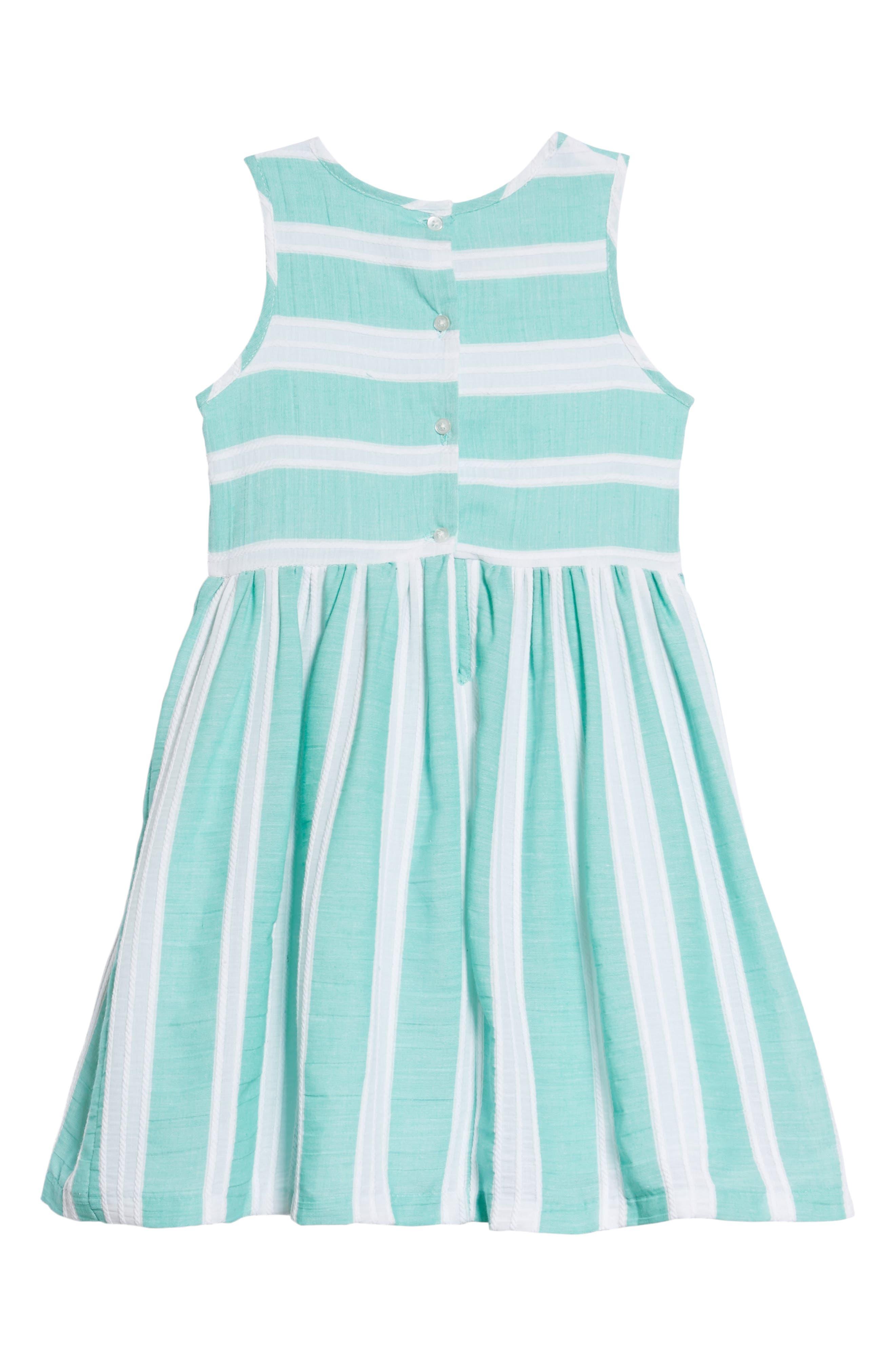 Stripe Dress,                             Alternate thumbnail 2, color,                             Green/ White