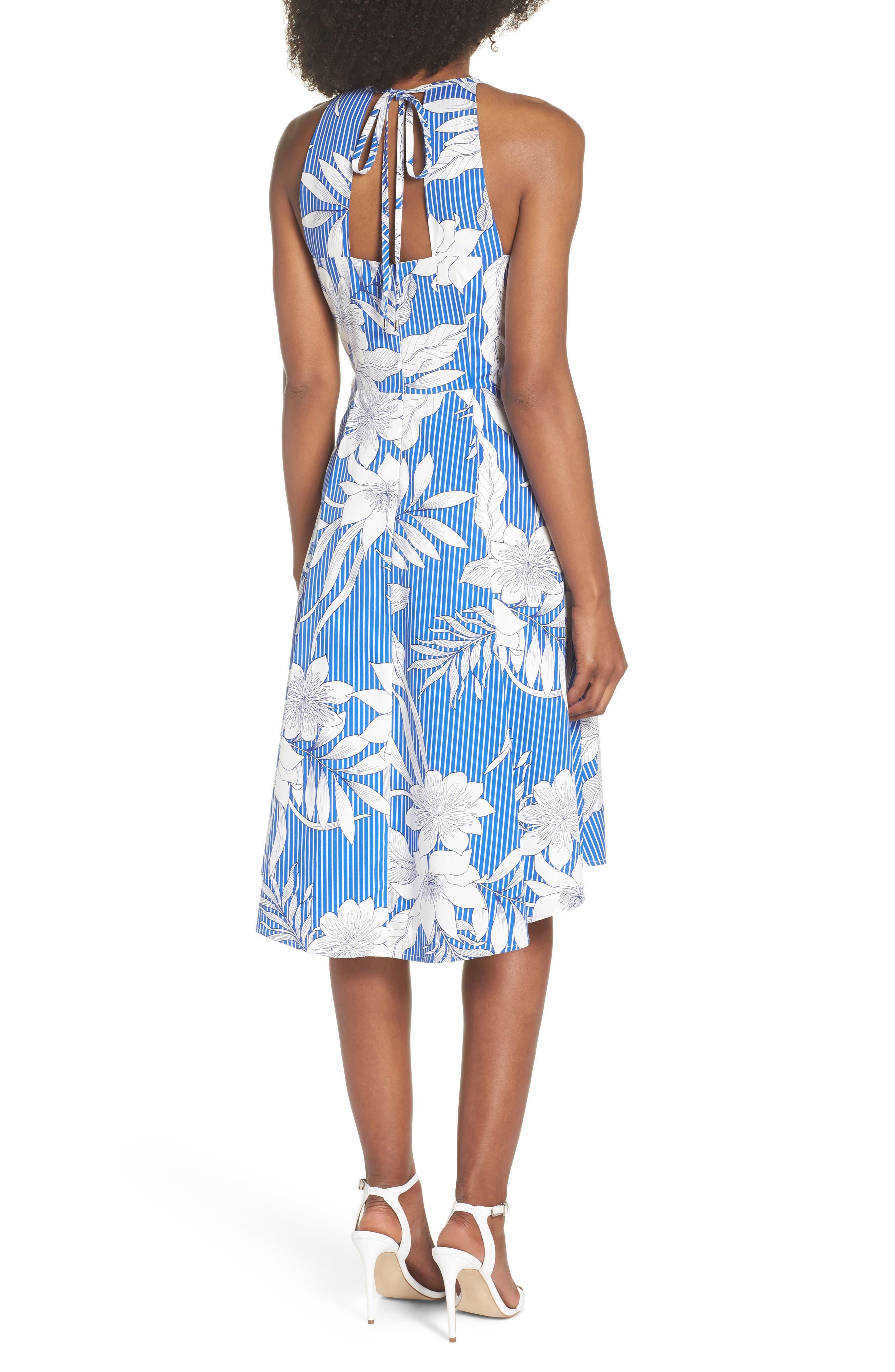 Print Poplin Fit & Flare Dress,                             Alternate thumbnail 2, color,                             Soft White/ Blue