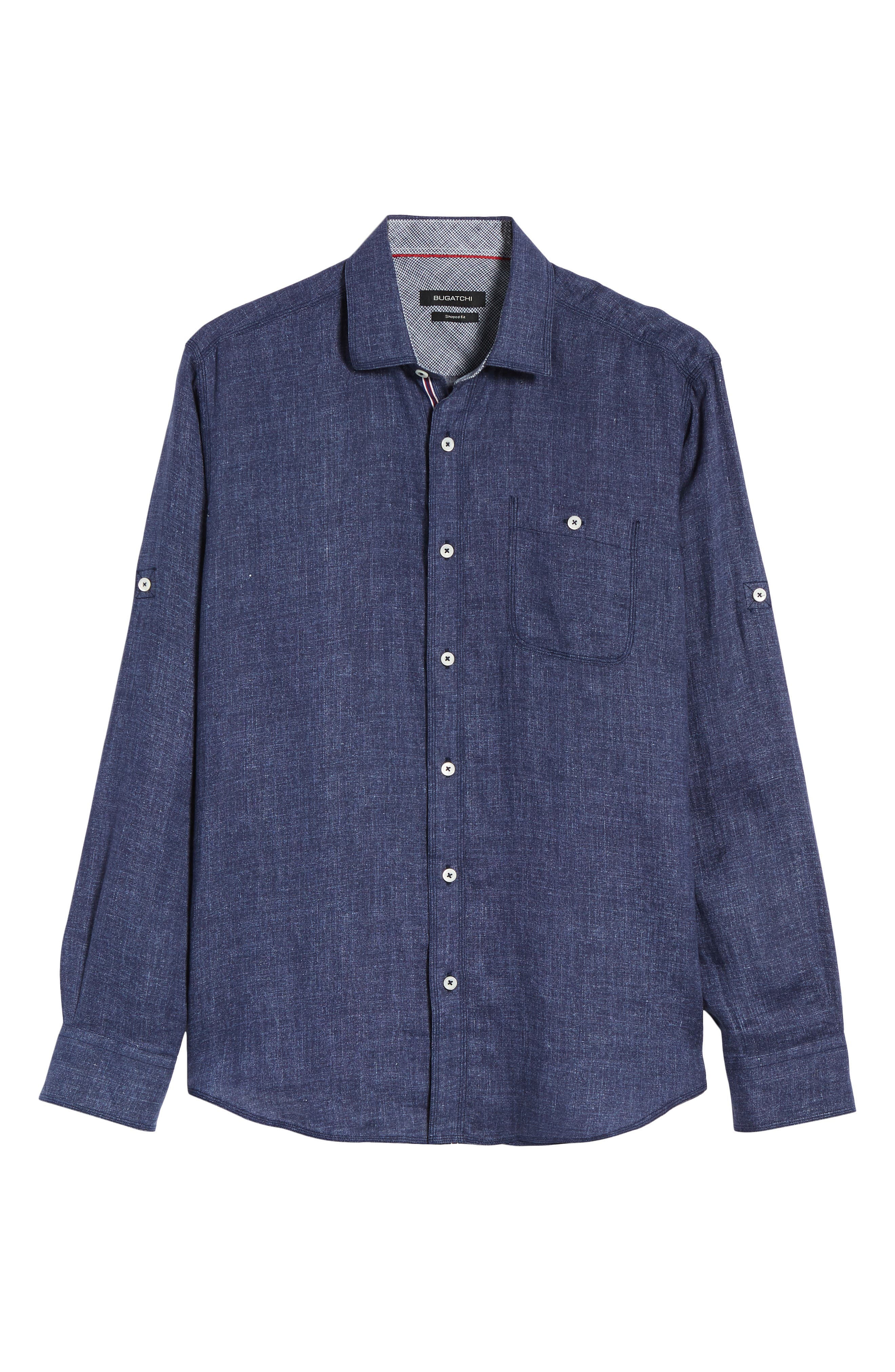 Shaped Fit Linen Sport Shirt,                             Alternate thumbnail 6, color,                             Navy