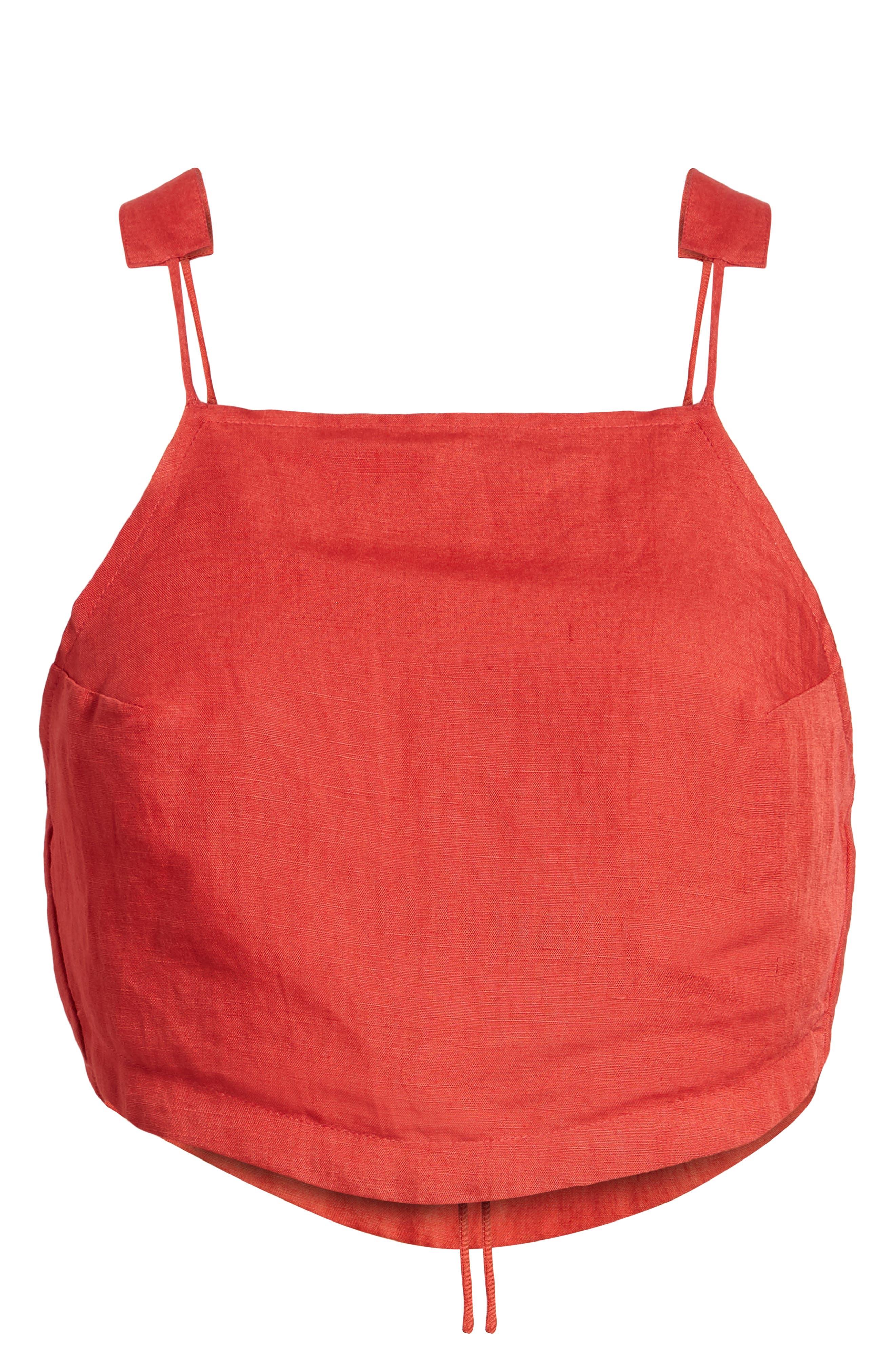 Linen Blend Crop Top,                             Alternate thumbnail 7, color,                             Bright Red