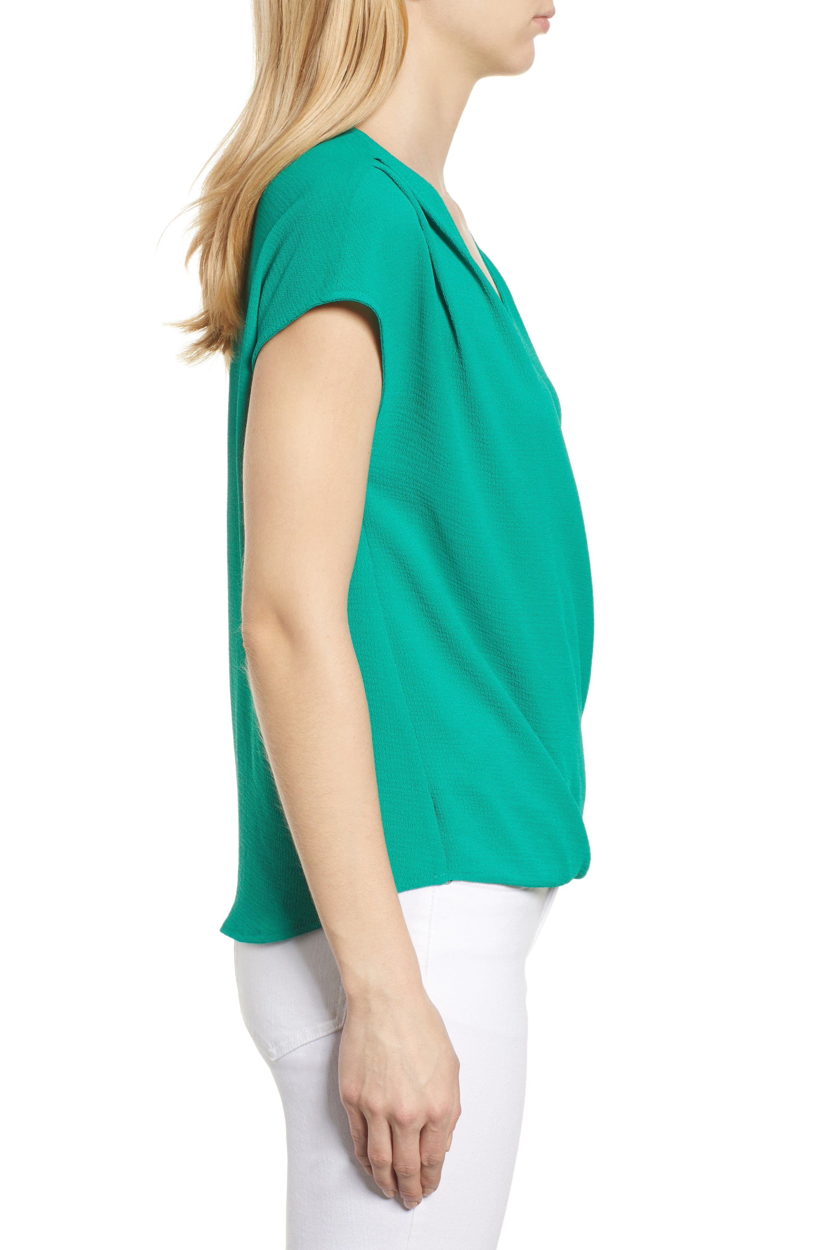 Draped Faux Wrap Top,                             Alternate thumbnail 3, color,                             Green Lake
