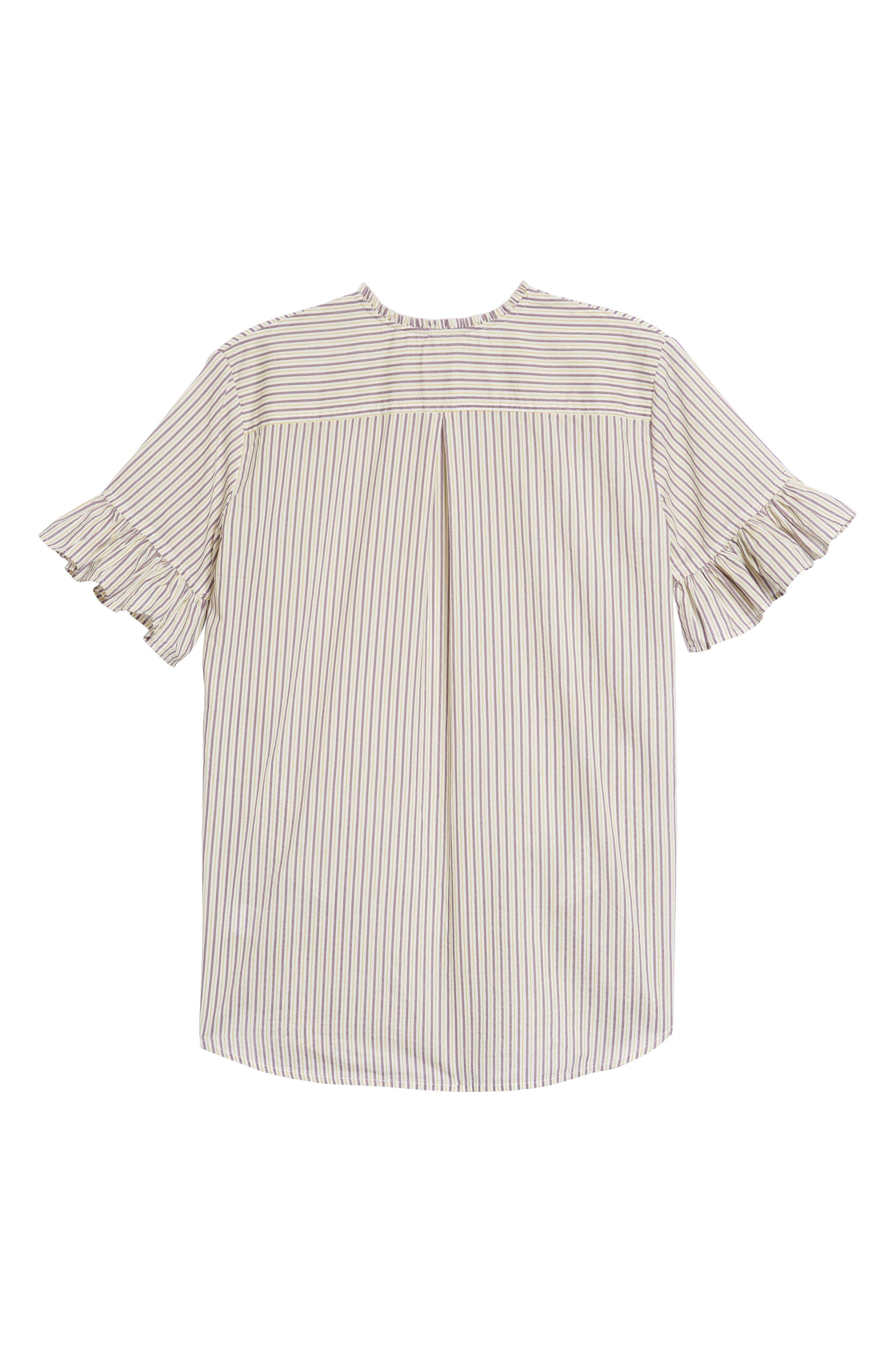 Ruffle Stripe Shirtdress,                             Alternate thumbnail 2, color,                             White Multi Stripe