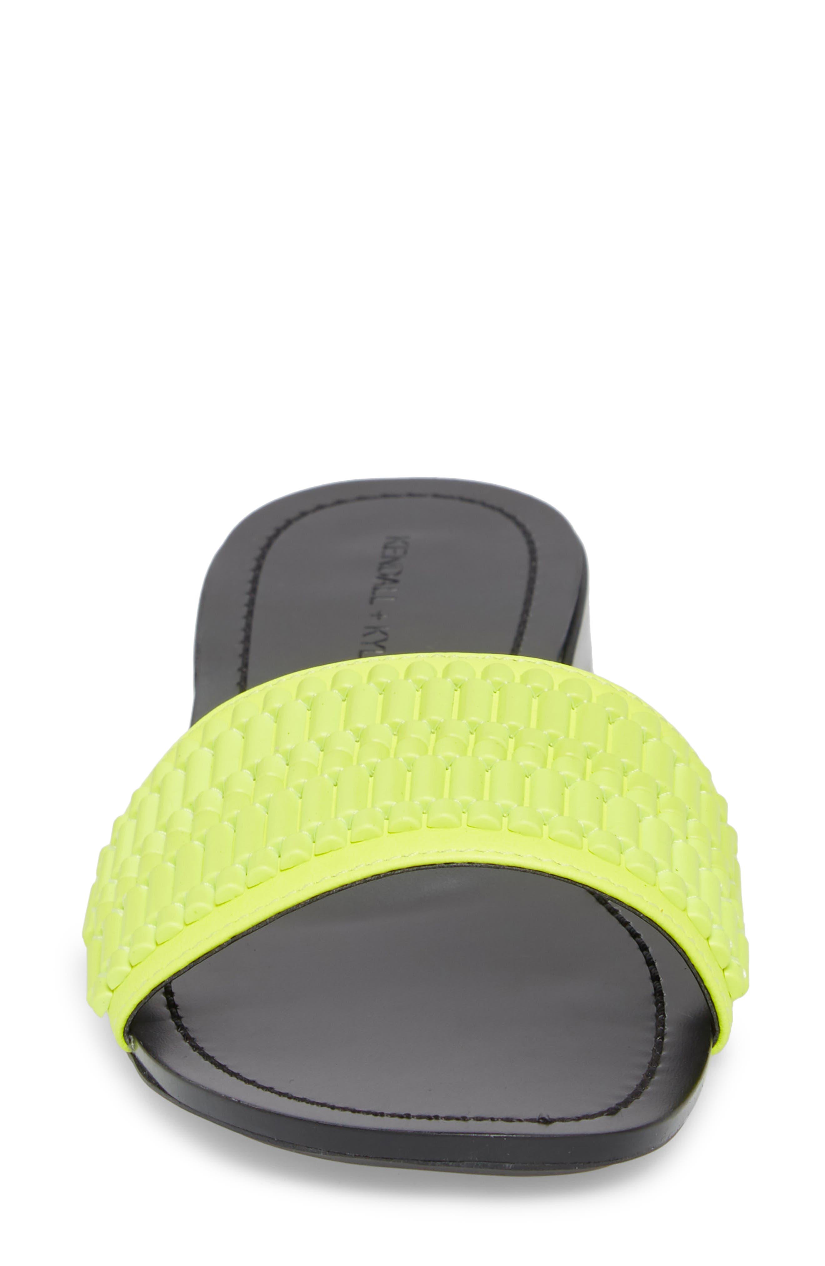 Kennedy Slide Sandal,                             Alternate thumbnail 4, color,                             Fluorescent Yellow/ Yellow