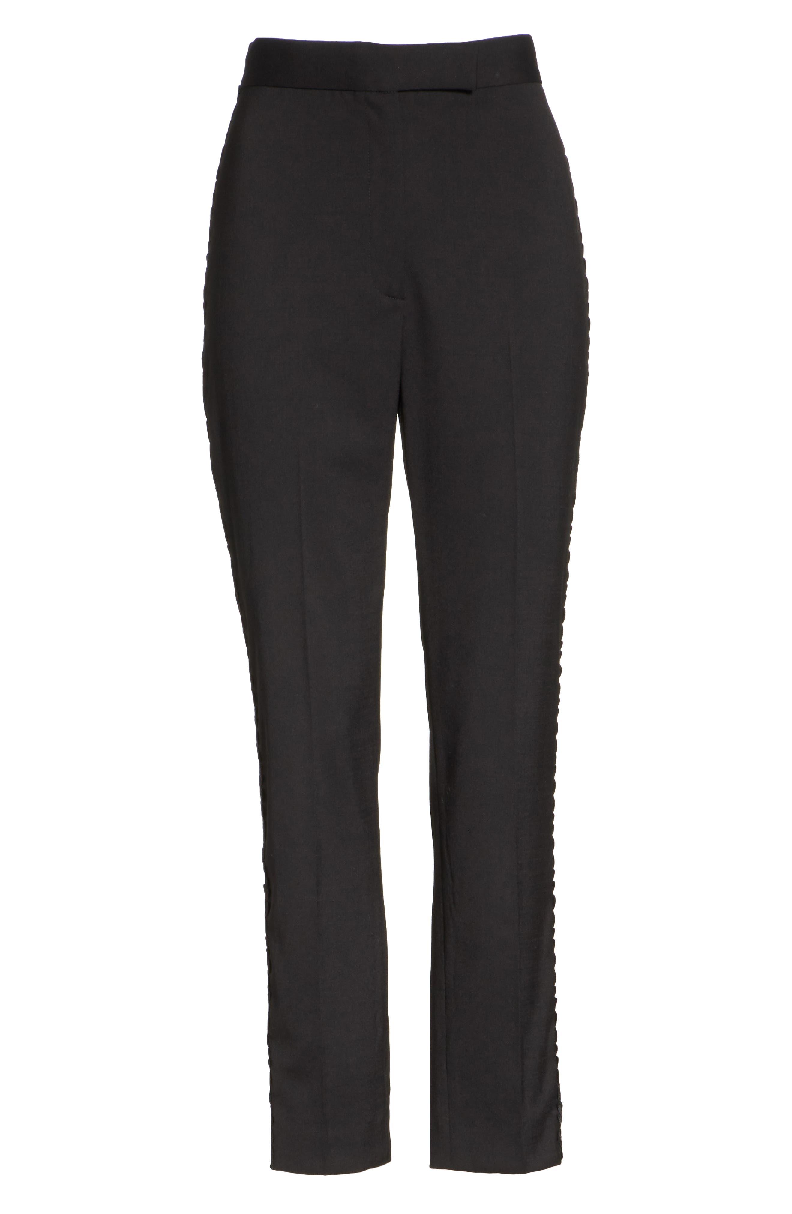Flower Trim Italian Stretch Wool Pants,                             Alternate thumbnail 6, color,                             Black