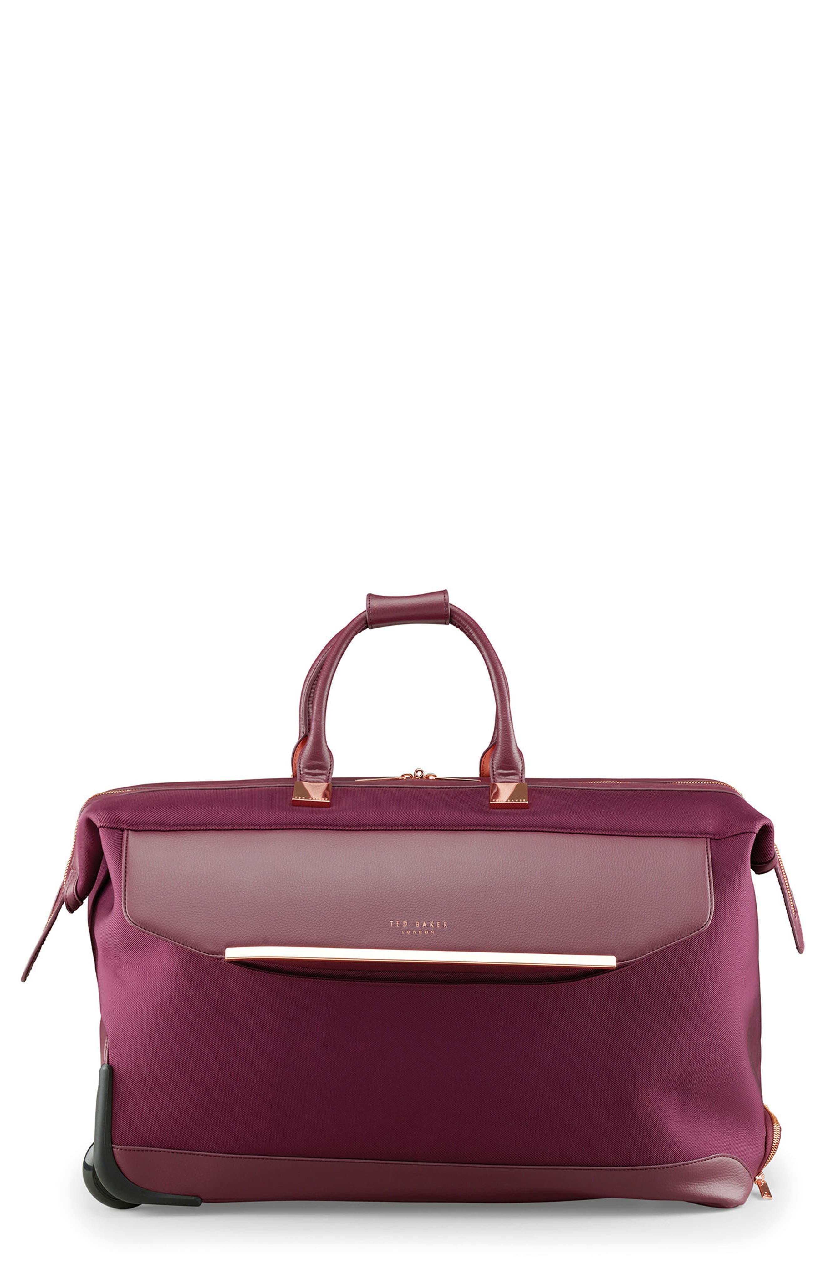 Large Front Pocket Rolling Duffel Bag,                             Main thumbnail 1, color,                             Burgundy