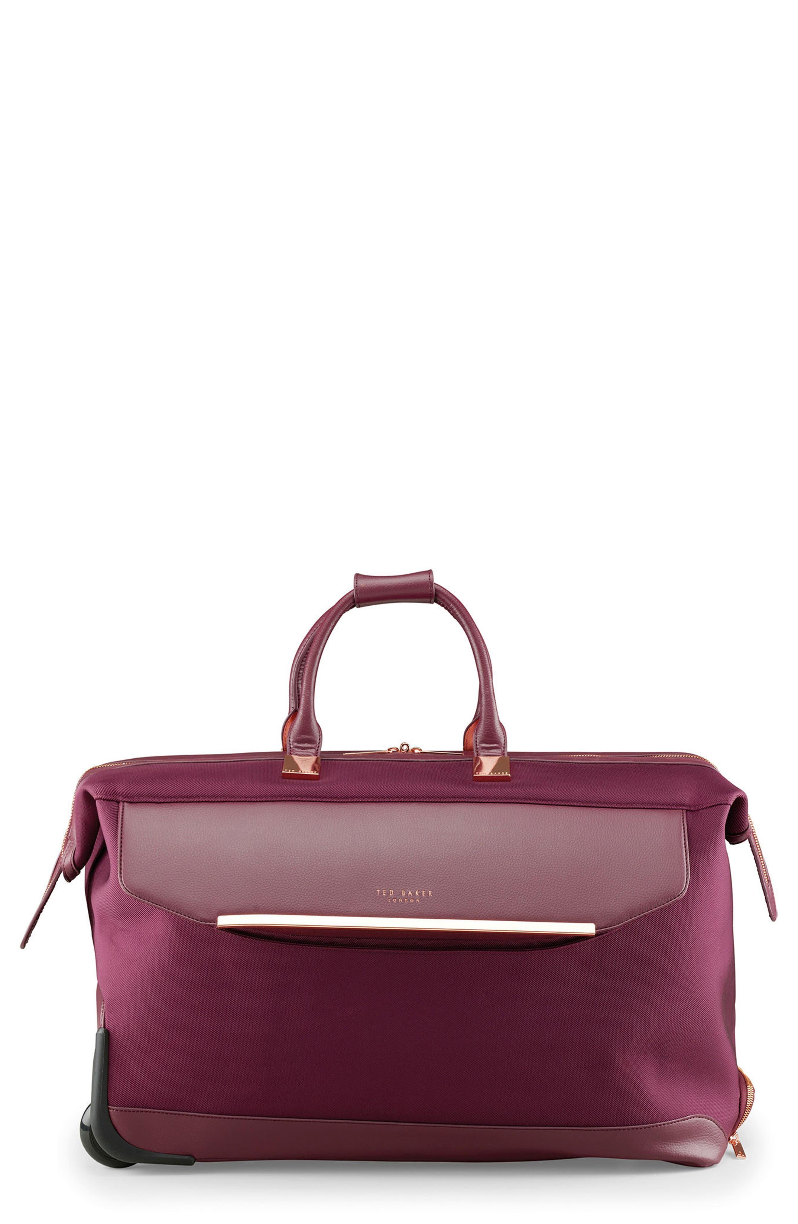 Large Front Pocket Rolling Duffel Bag,                         Main,                         color, Burgundy