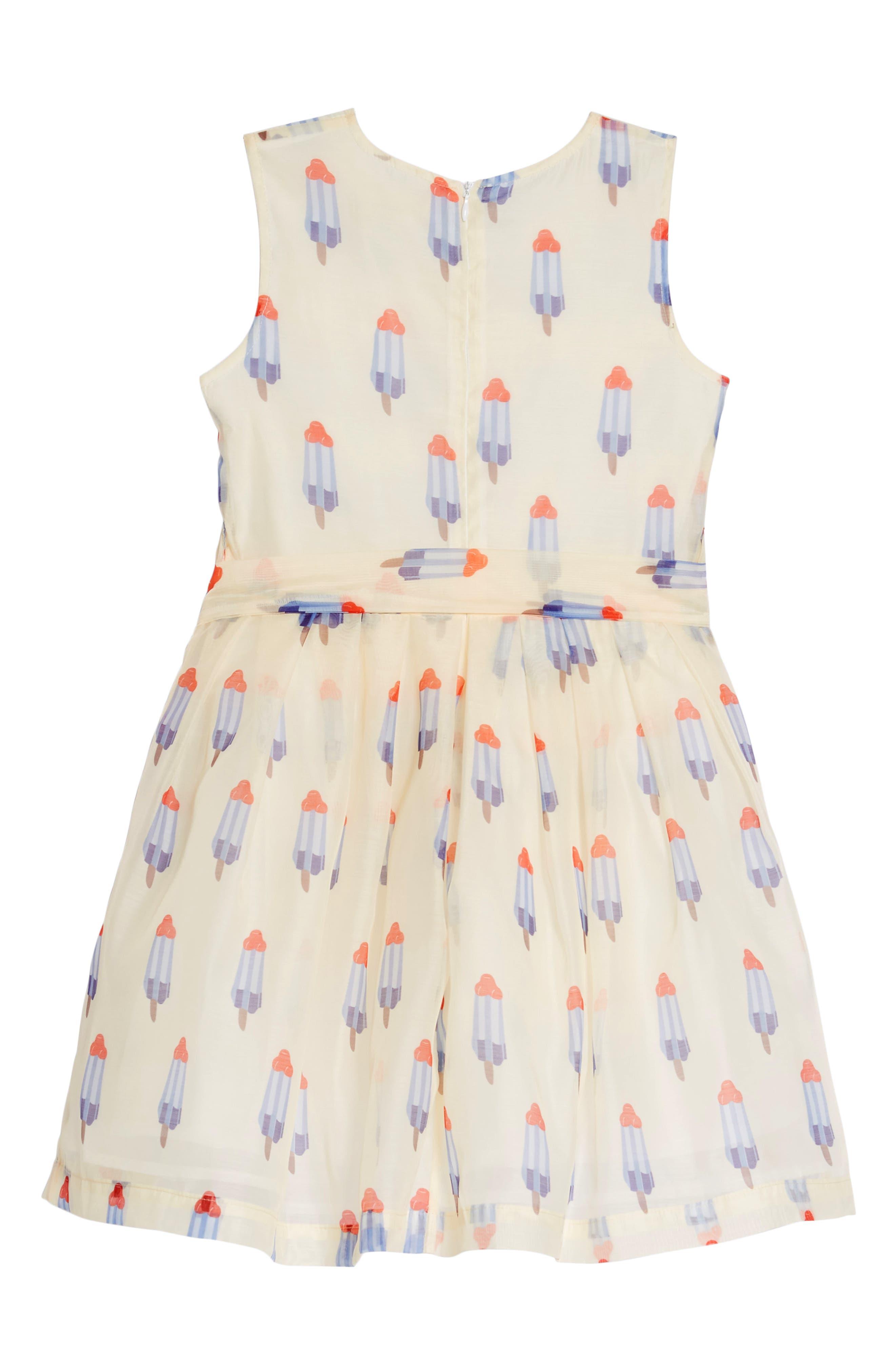 Popsicle Print Fit & Flare Dress,                             Alternate thumbnail 2, color,                             Tan Multi