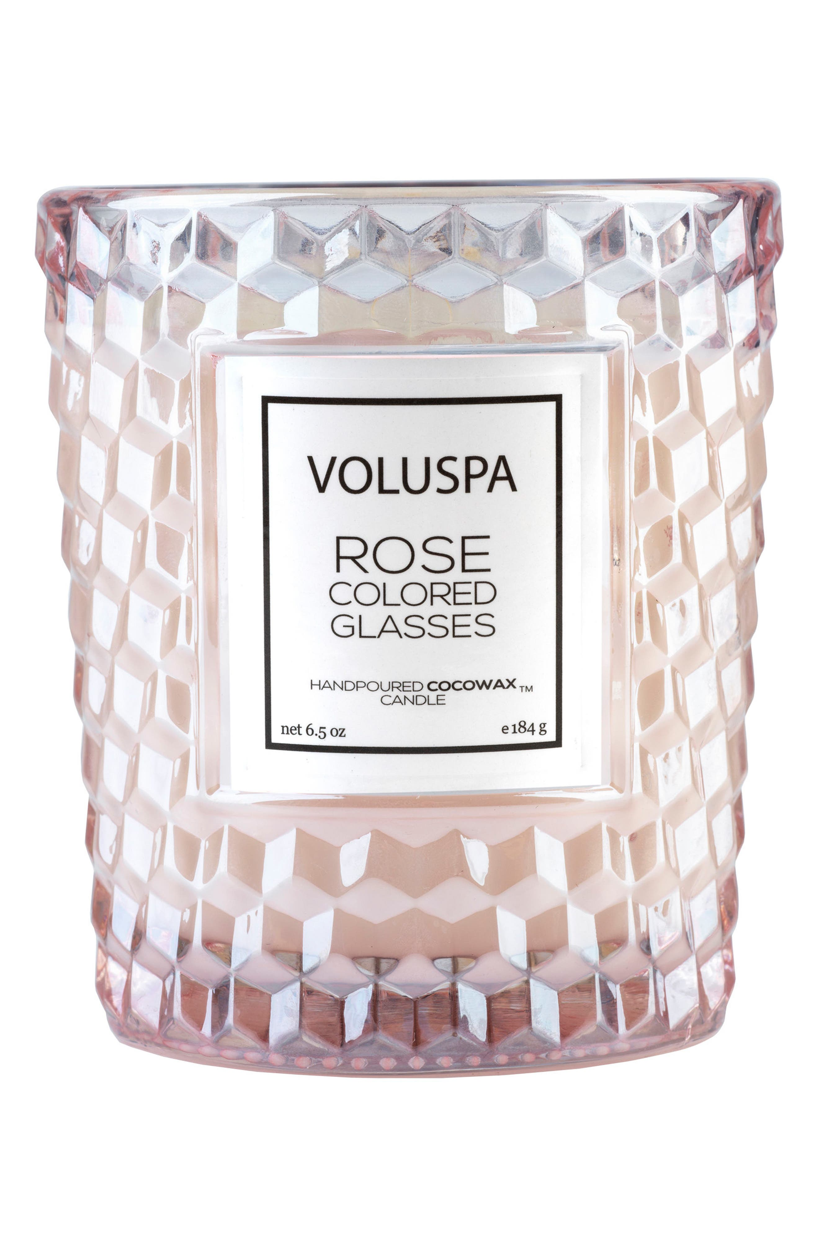 Roses Classic Textured Glass Candle,                             Main thumbnail 1, color,                             Rose Colored Glasses