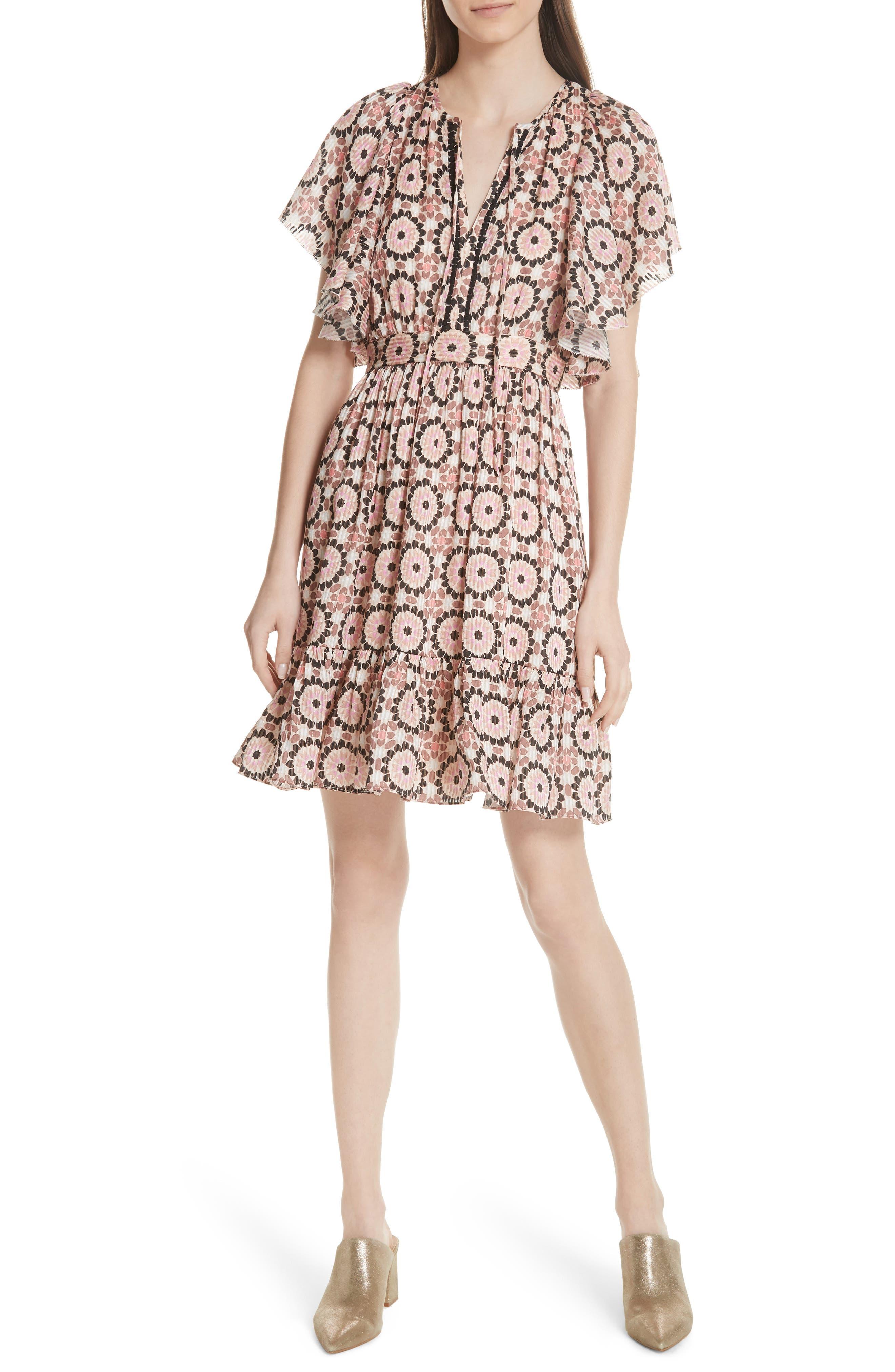 floral mosaic flutter dress,                         Main,                         color, Pearl Pink Multi