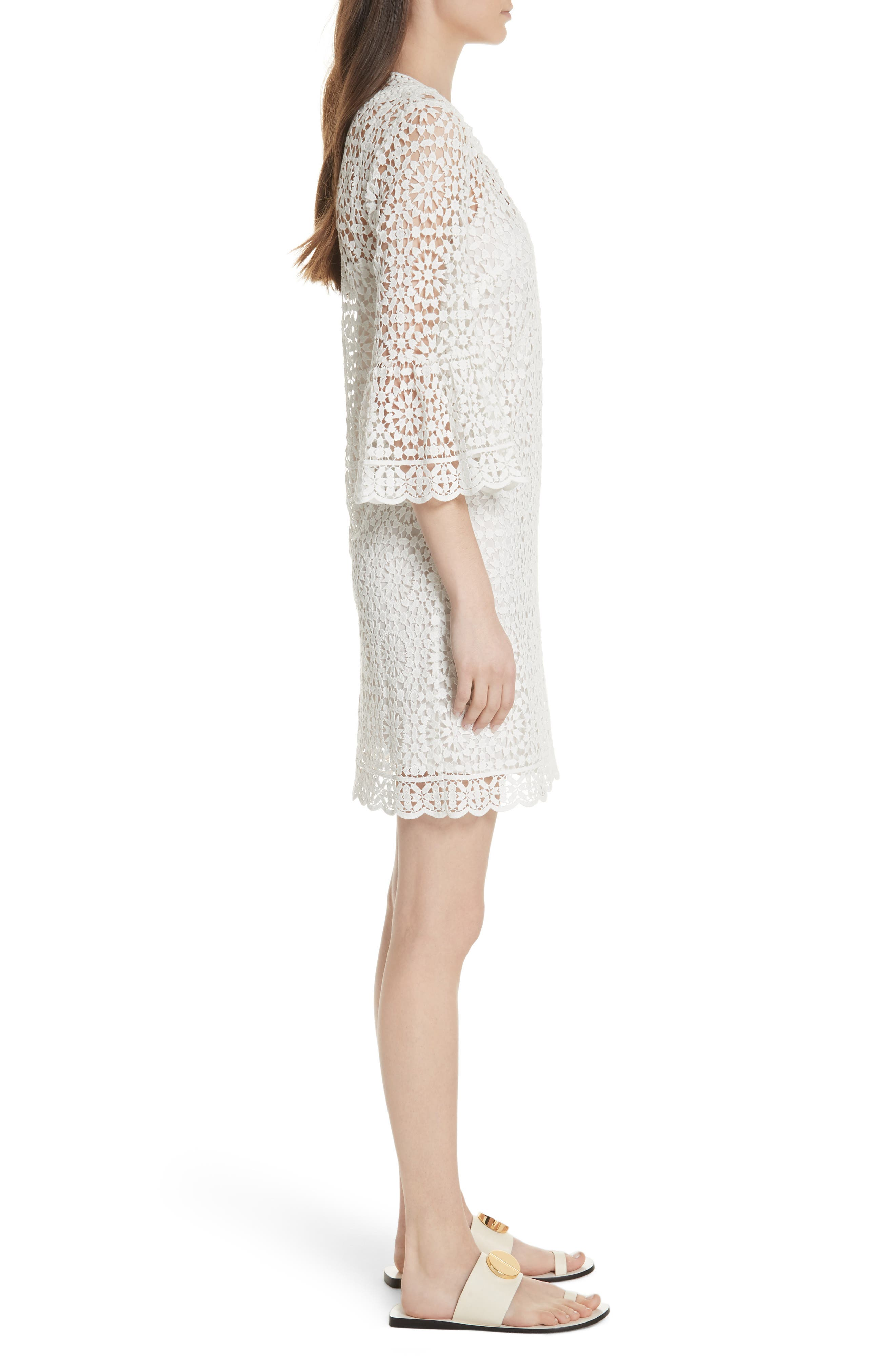 bell sleeve crochet shift dress,                             Alternate thumbnail 3, color,                             Cream