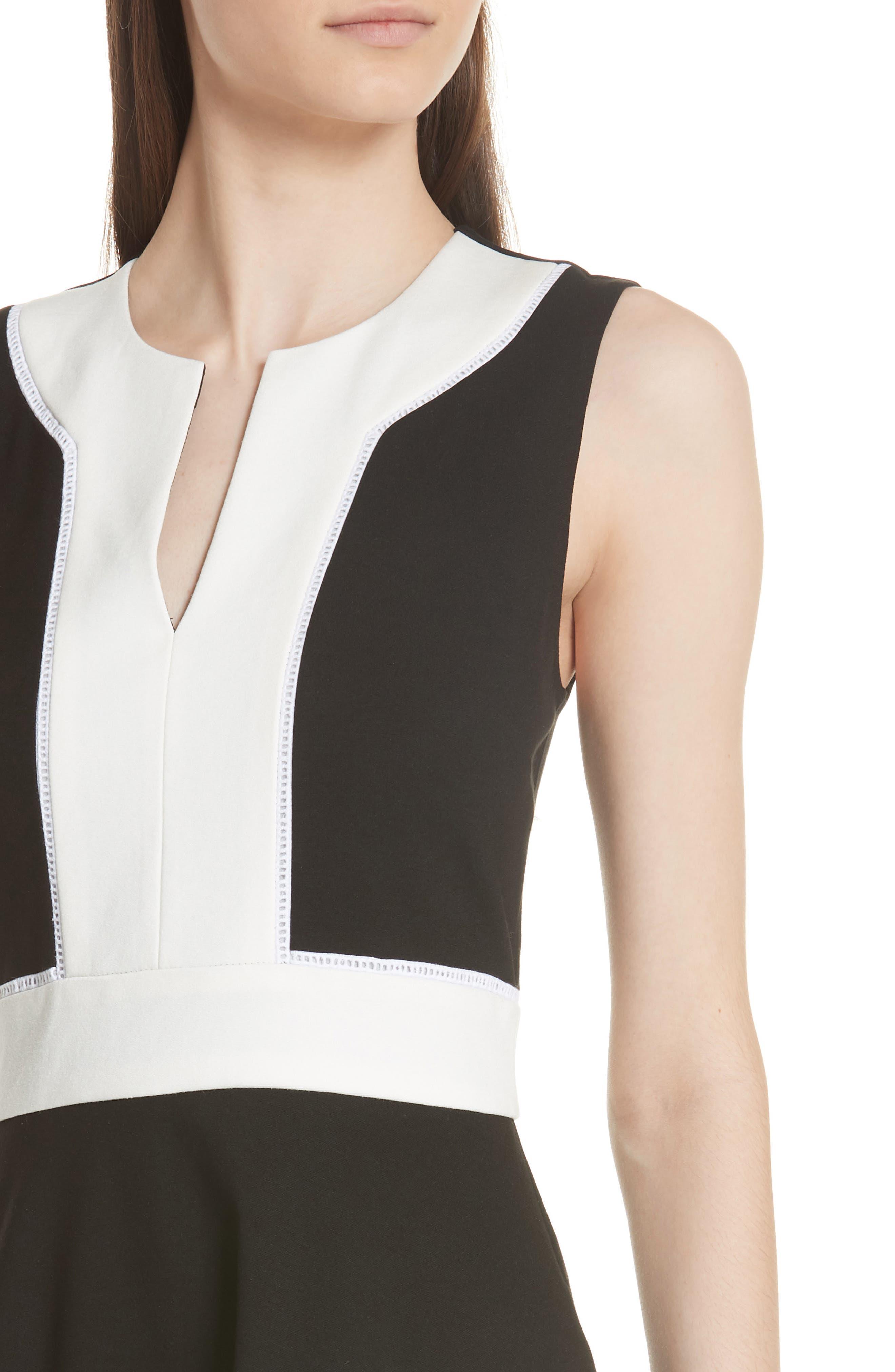 colorblock ponte a-line dress,                             Alternate thumbnail 4, color,                             Black