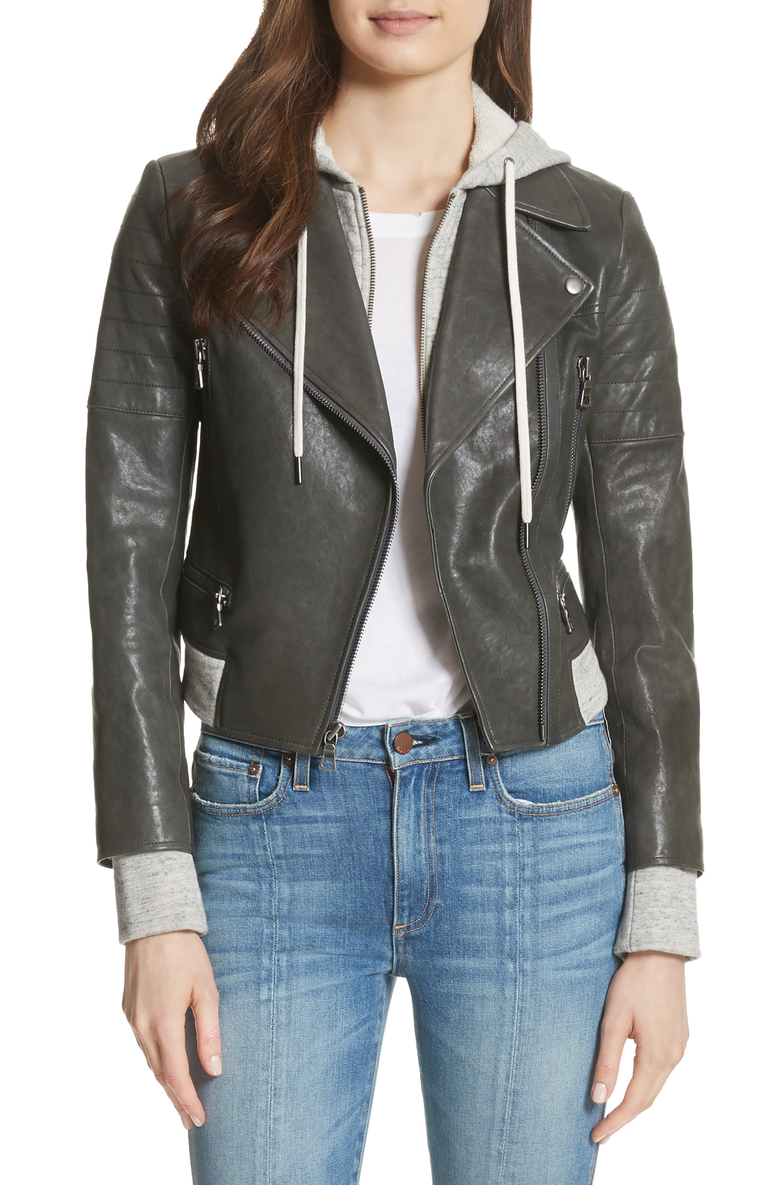 Avril Hooded Combo Leather Jacket,                         Main,                         color, Charcoal