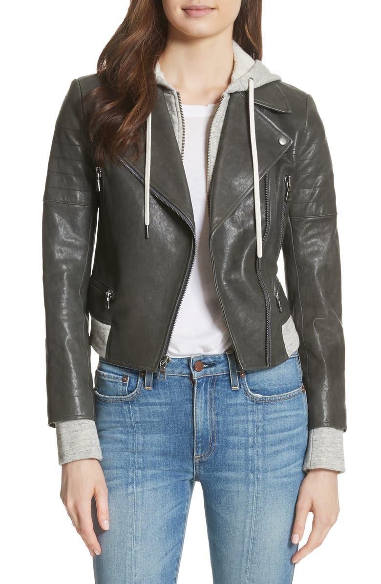 Avril Hooded Combo Leather Jacket
