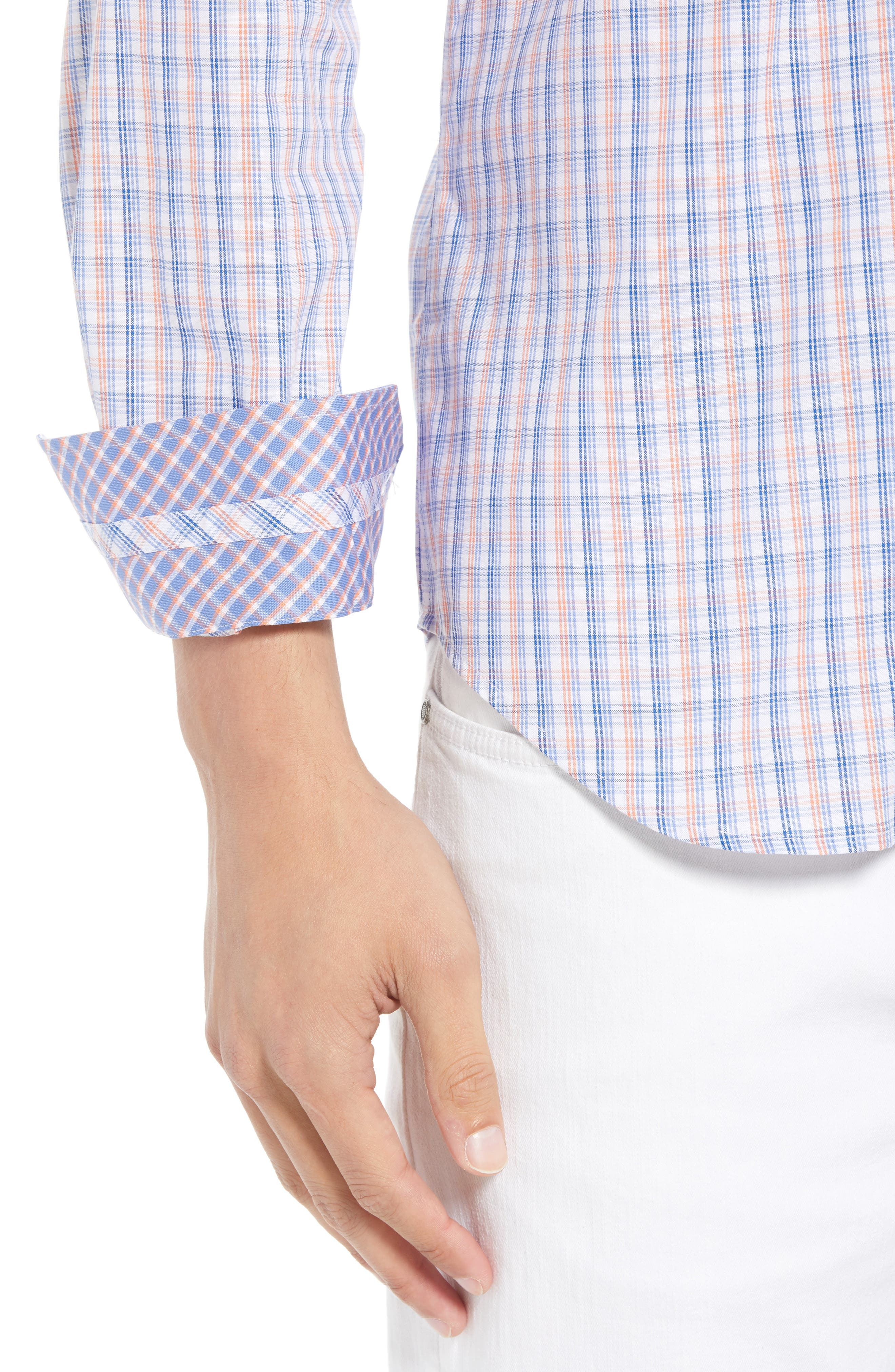 Adon Regular Fit Plaid Sport Shirt,                             Alternate thumbnail 2, color,                             Orange