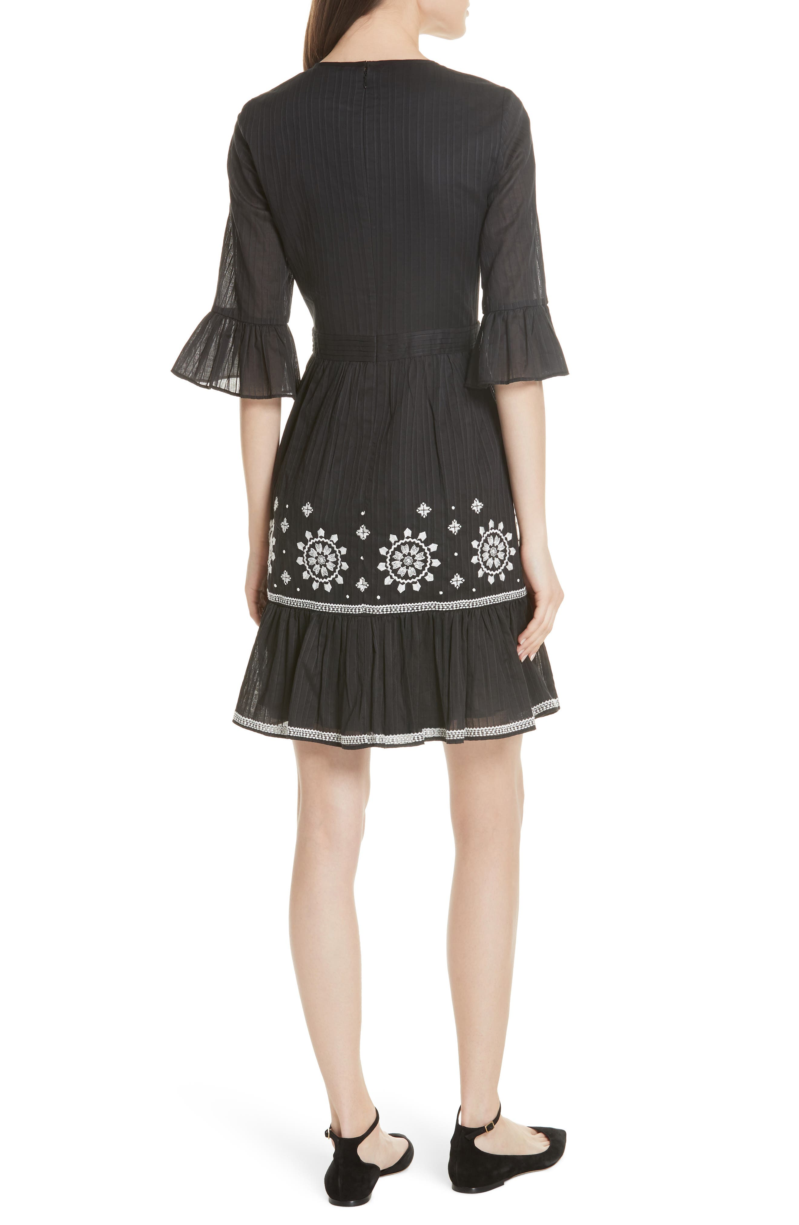 mosaic embroidered dress,                             Alternate thumbnail 2, color,                             Black