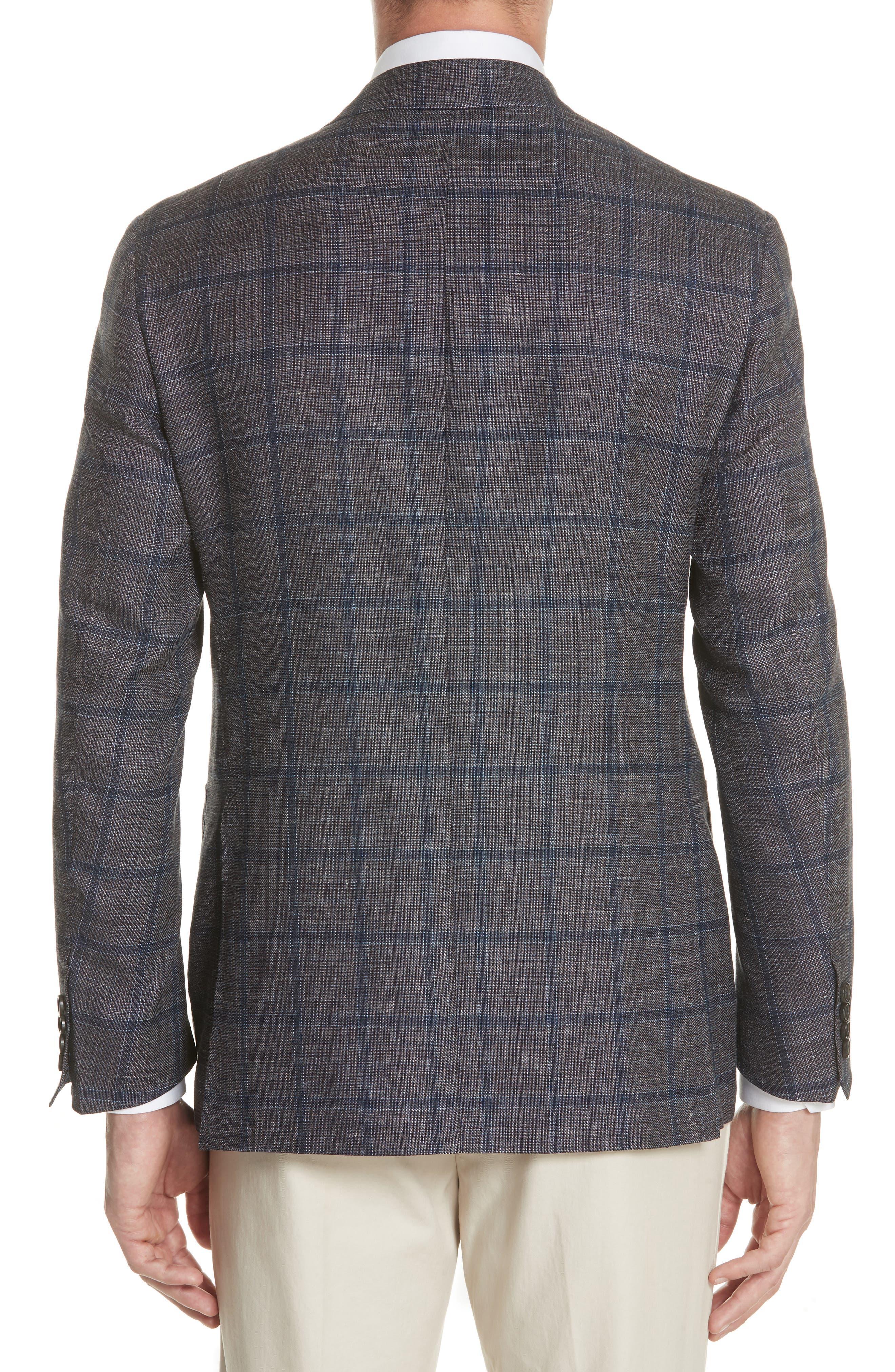 Kei Classic Fit Windowpane Wool Blend Sport Coat,                             Alternate thumbnail 2, color,                             Brown