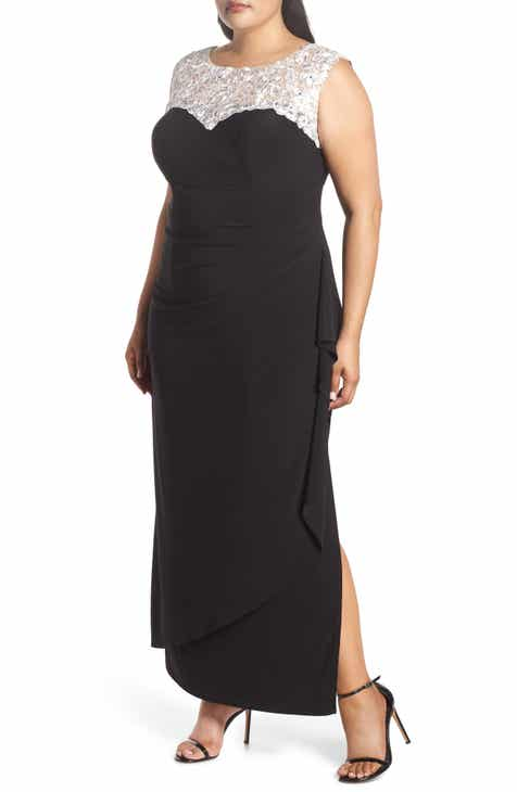 7a120d281f0b3 Alex Evenings Embroidered Side Ruched Gown (Plus Size)
