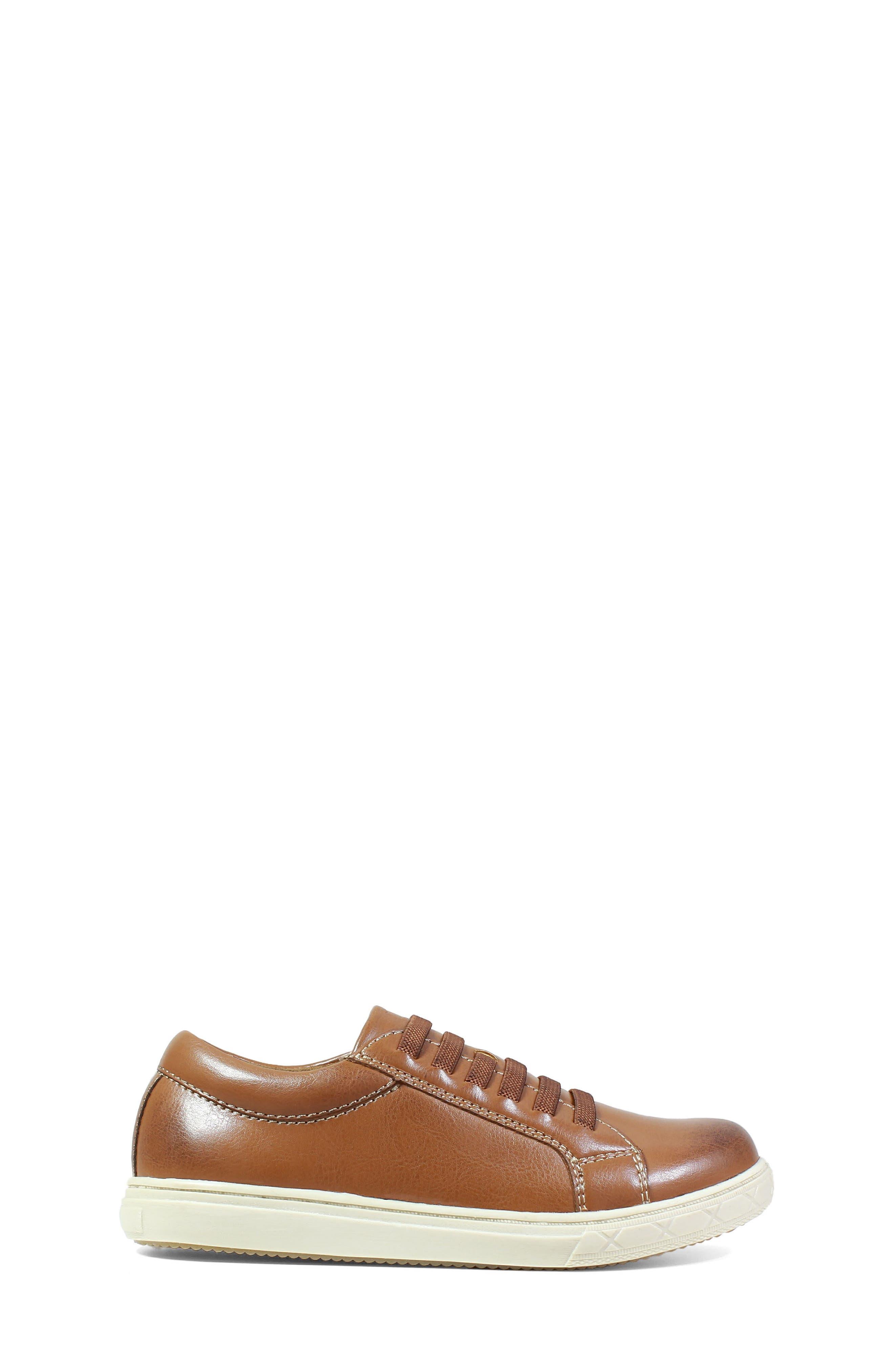 Curb Elastic Lace Sneaker,                             Alternate thumbnail 3, color,                             Cognac