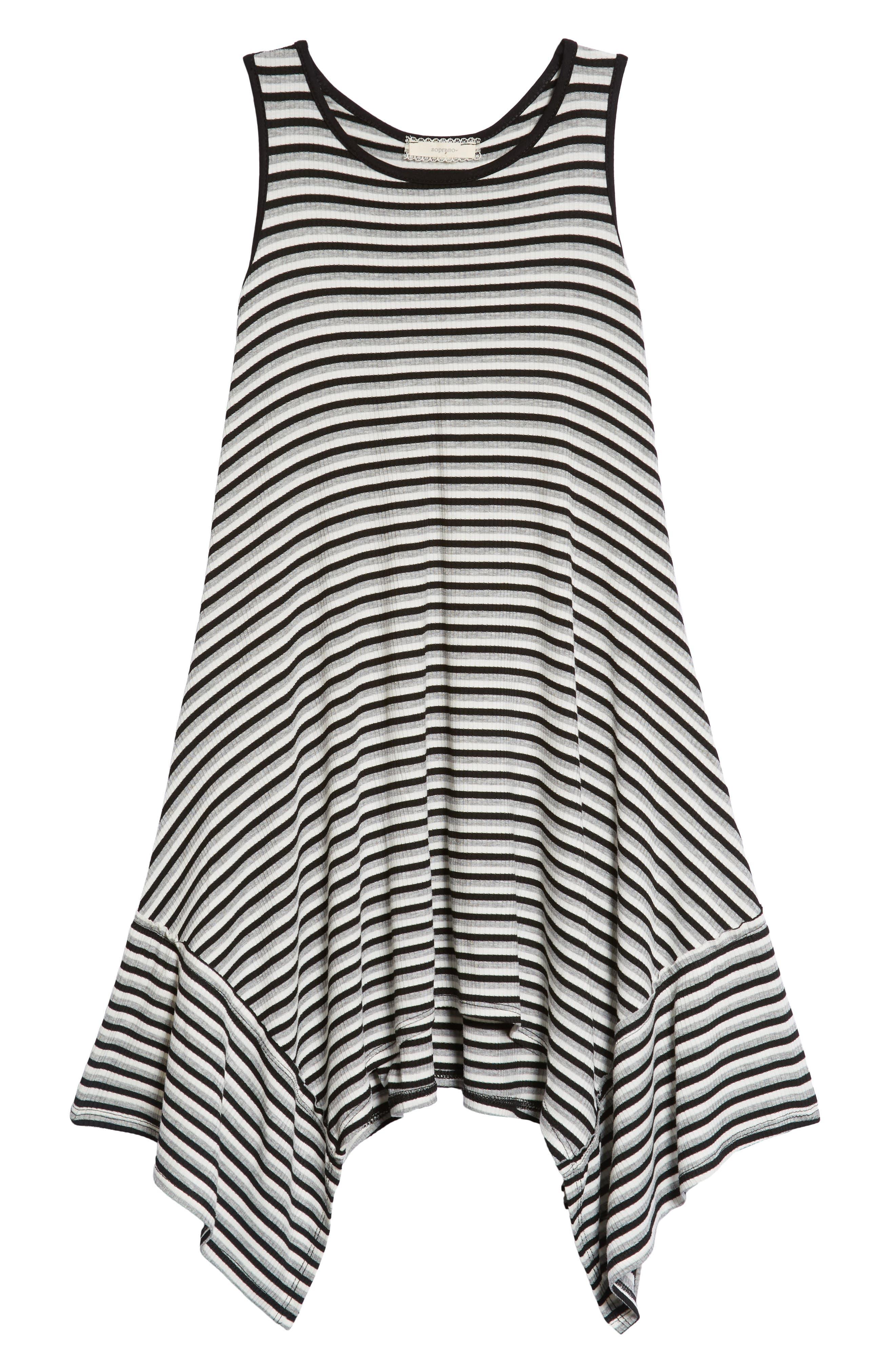Racerback Stripe Handkerchief Dress,                             Main thumbnail 1, color,                             Grey/ Black