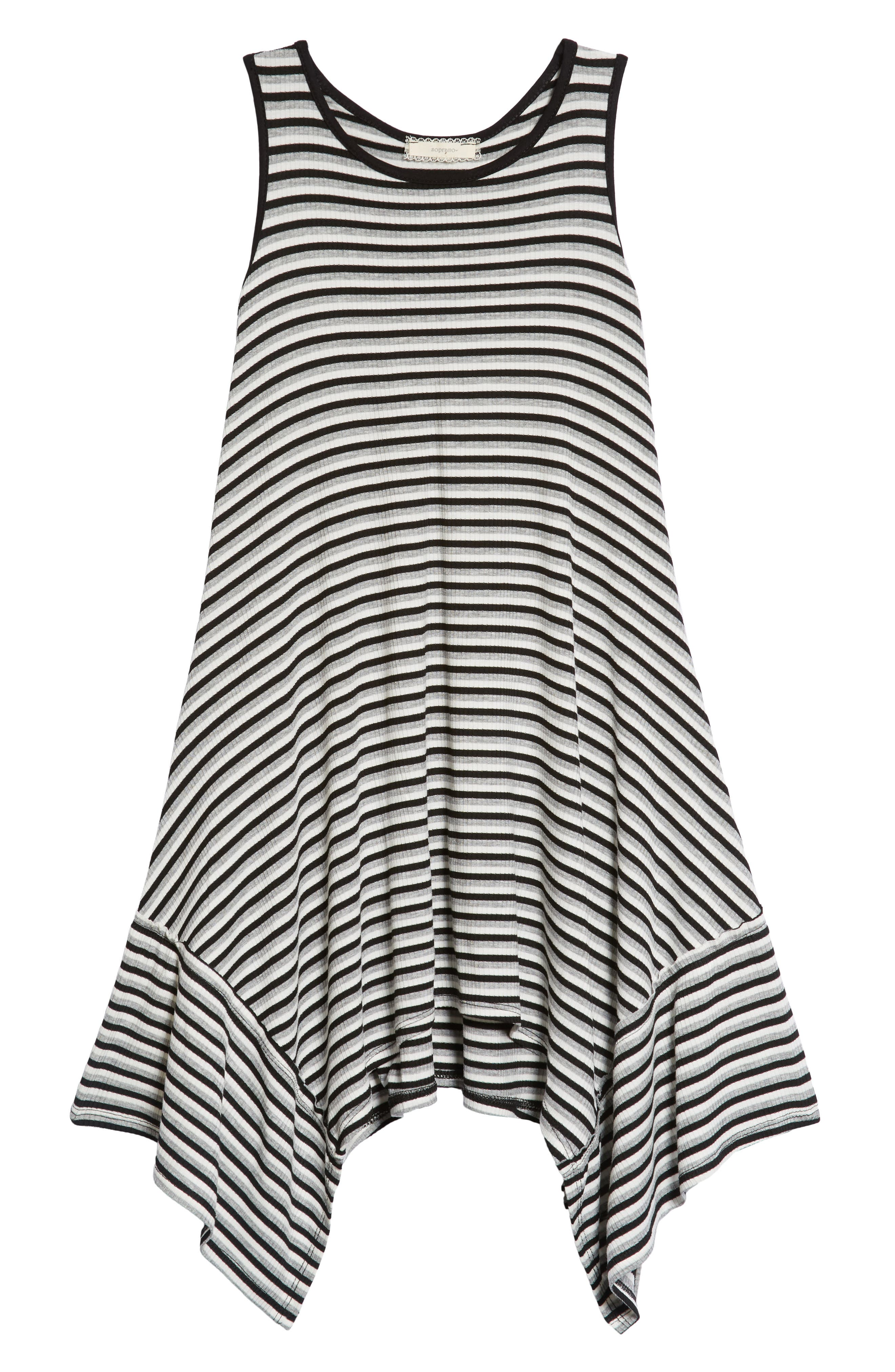 Racerback Stripe Handkerchief Dress,                         Main,                         color, Grey/ Black