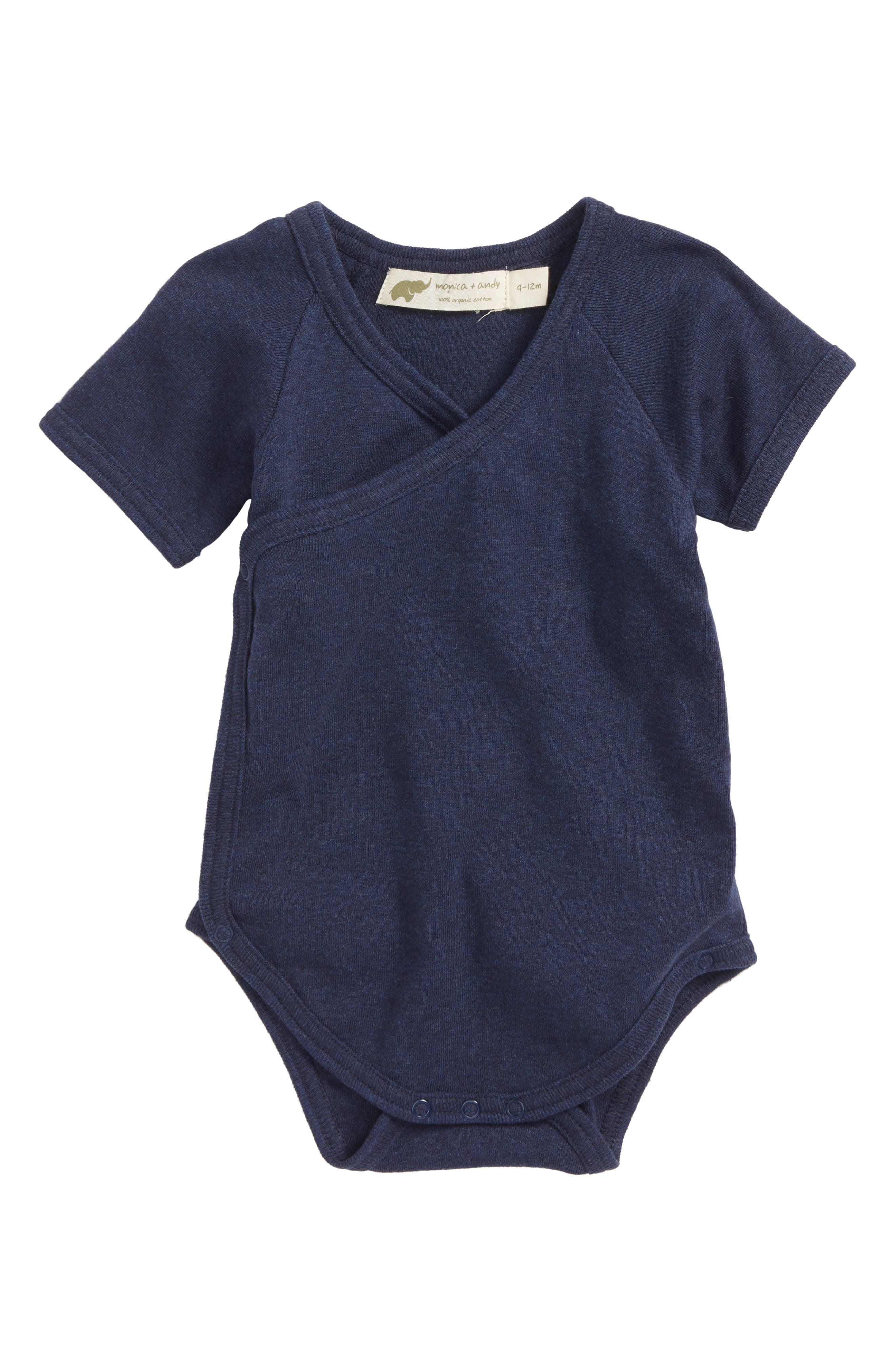 Main Image - Monica + Andy Lucky Surplice Organic Cotton Bodysuit (Baby)