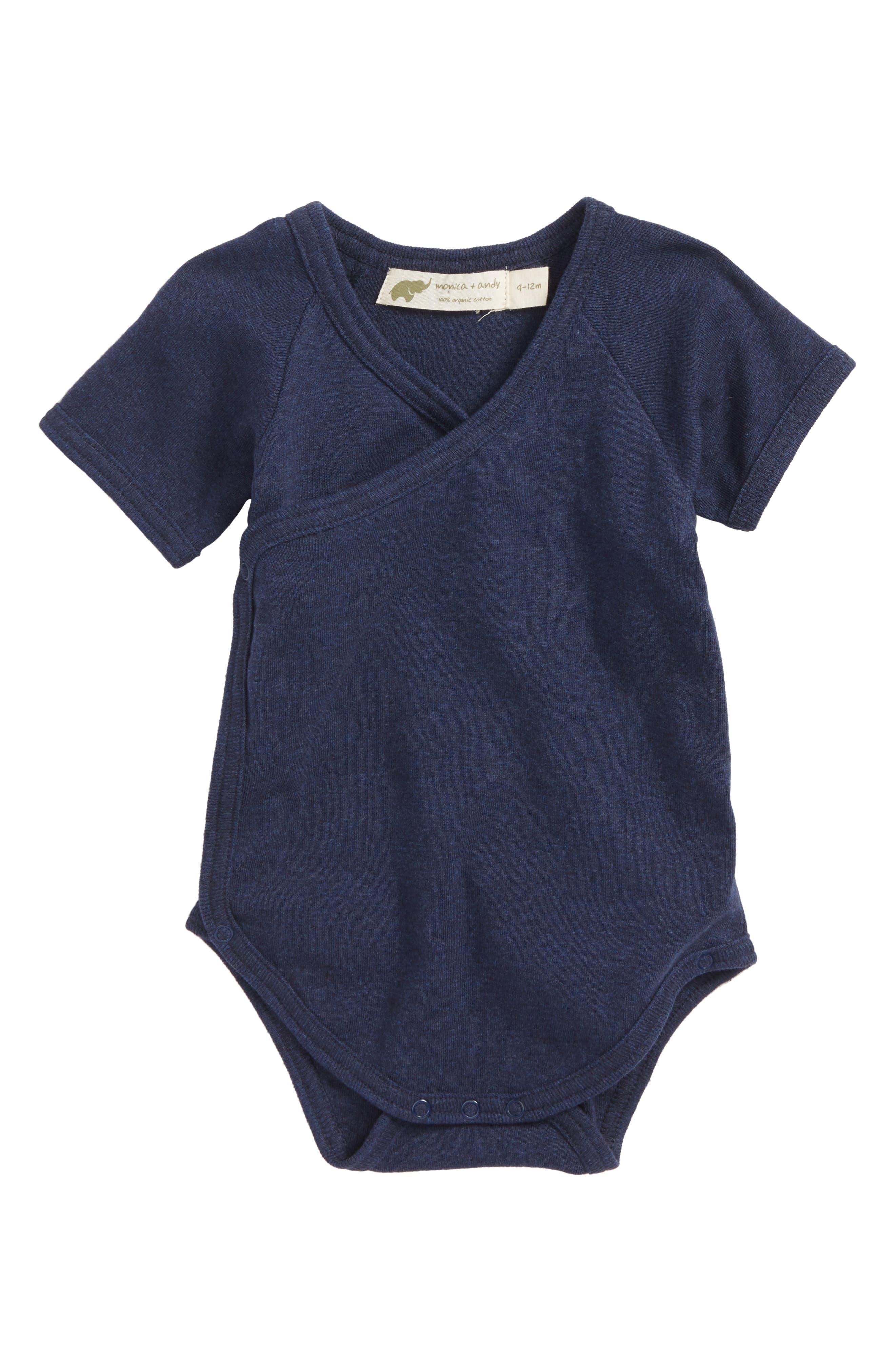 Lucky Surplice Organic Cotton Bodysuit,                         Main,                         color, Navy Heather