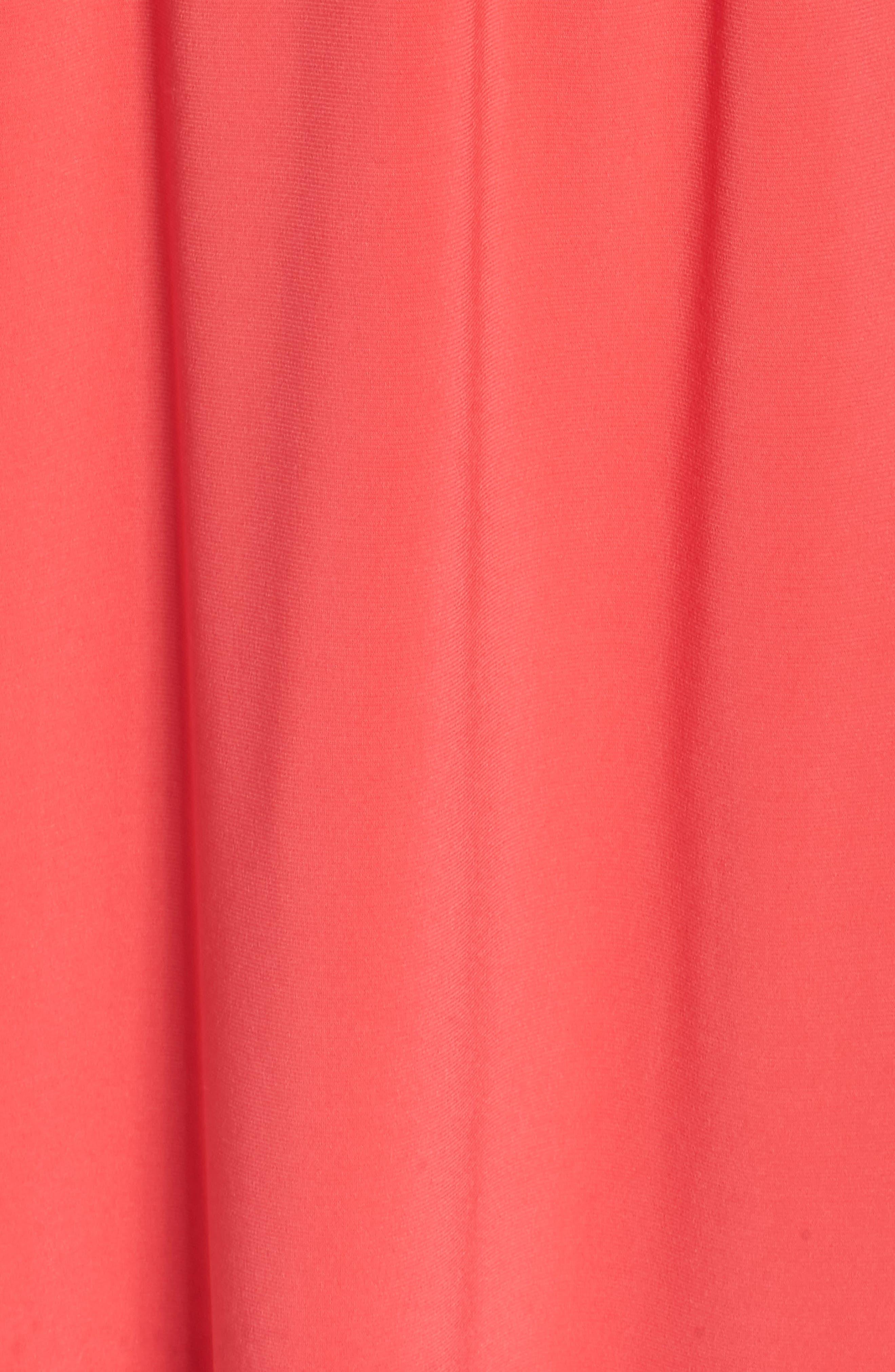 Twist Neck Jersey Blouson Dress,                             Alternate thumbnail 6, color,                             Geranium